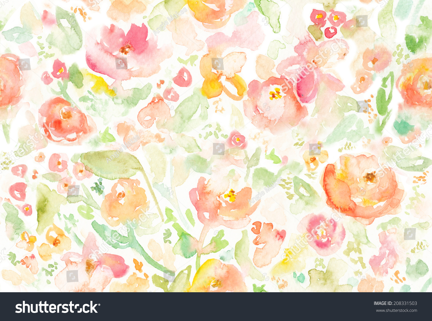 Seamless Colorful Abstract Watercolor Floral Background