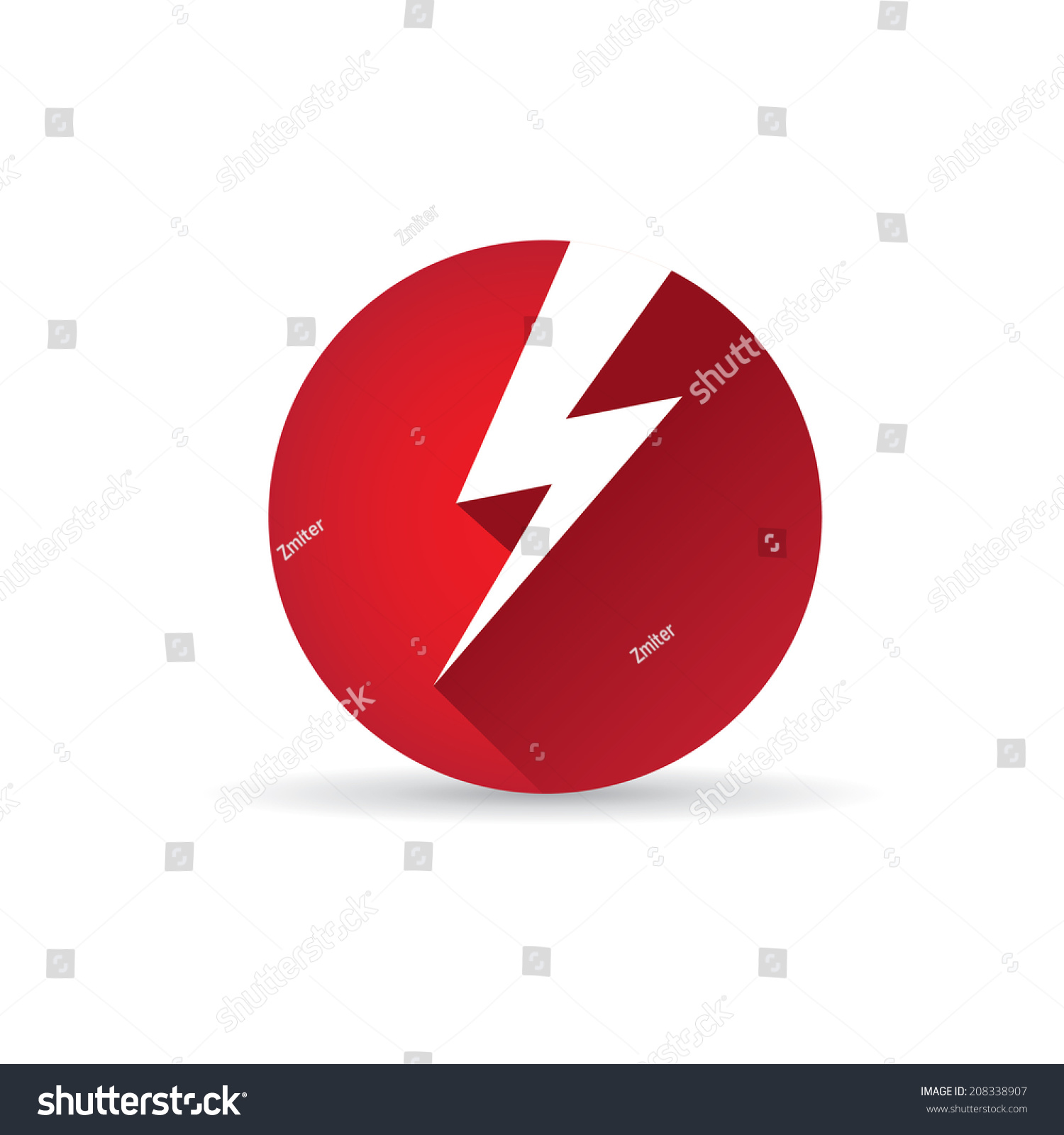 Vector Flat Lightning Bolt Vector Icon Stock Vector 208338907