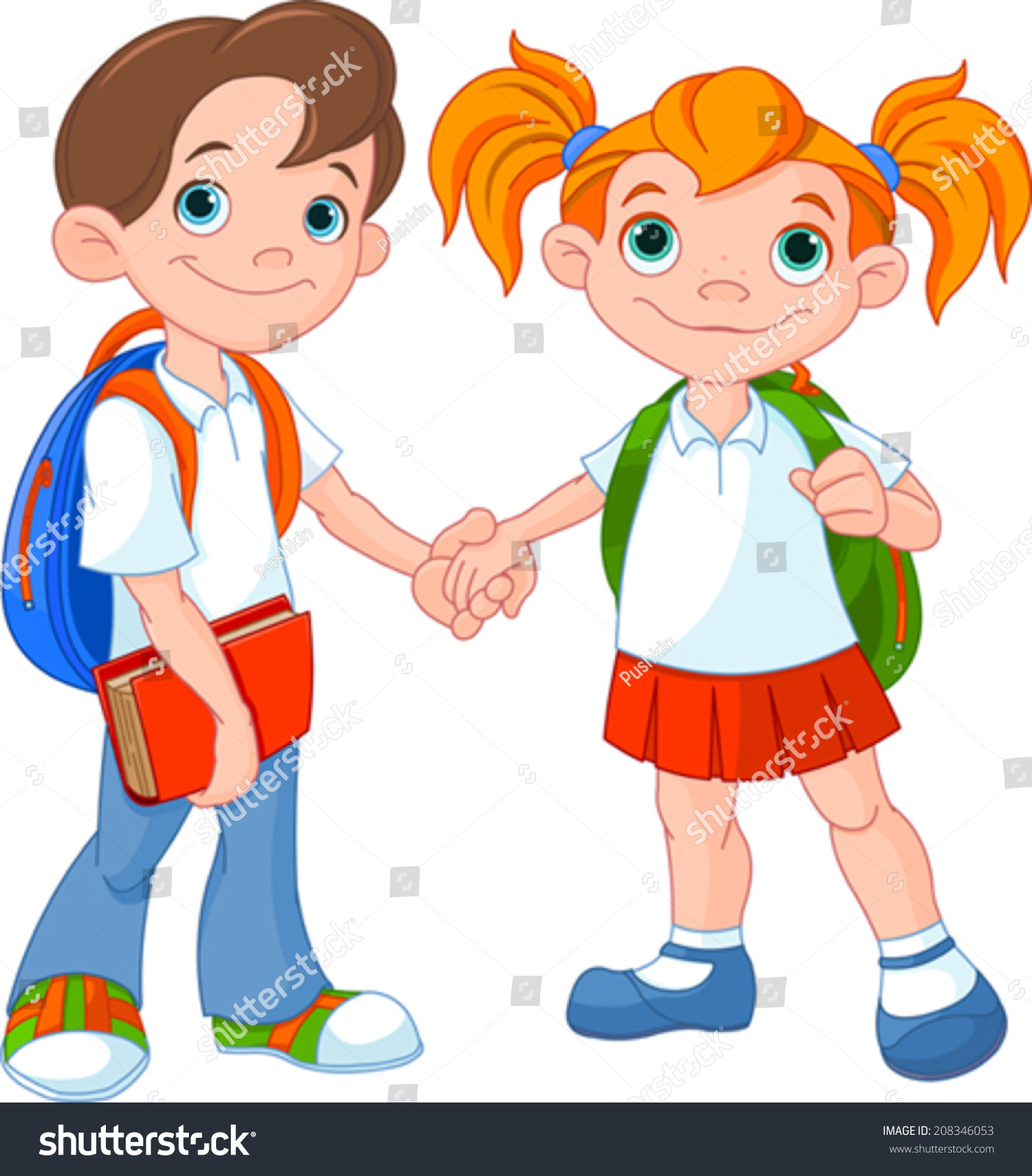 Boy girl ready go back school stock vector 208346053 for Ready to go images