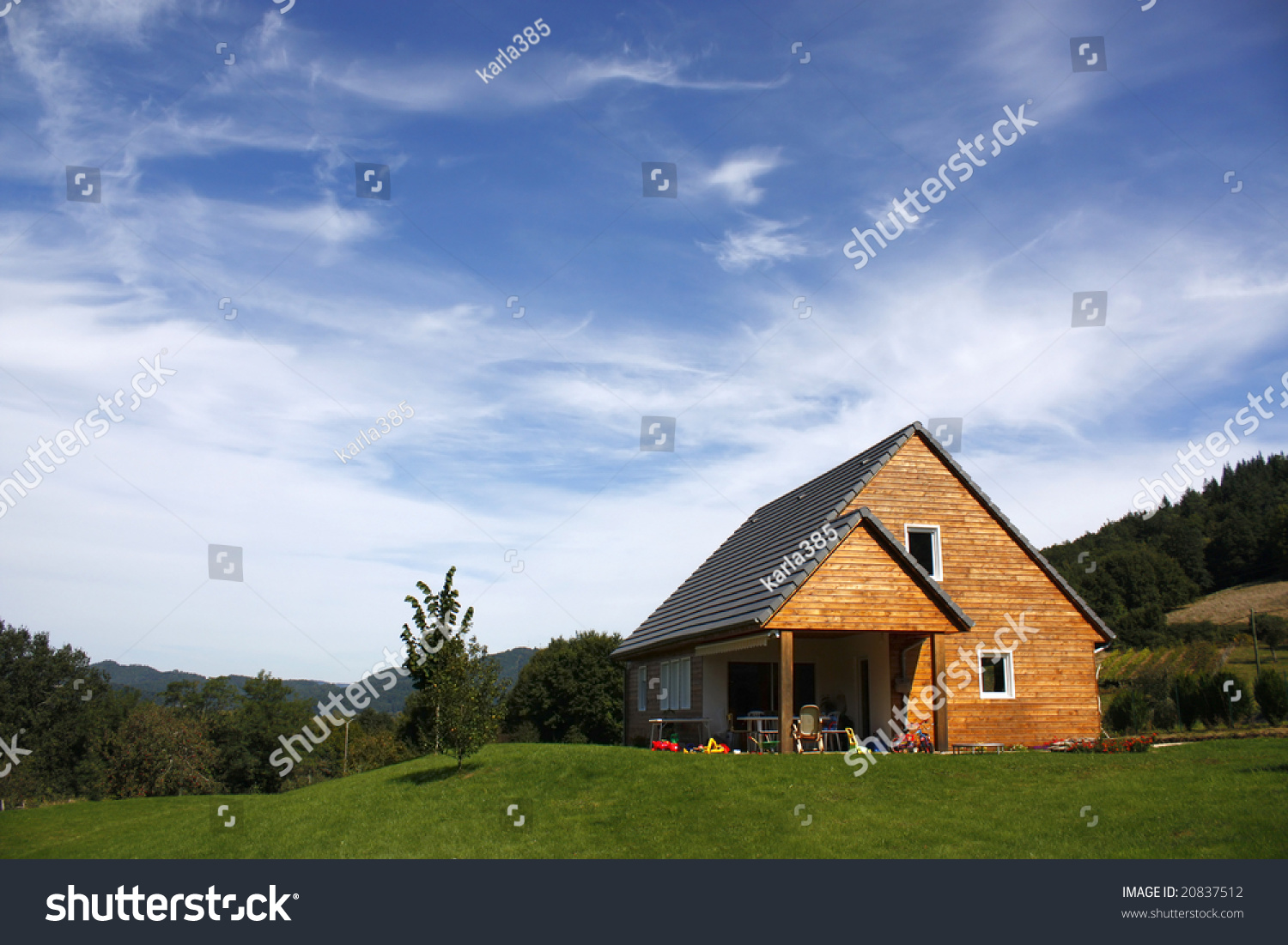 Cute wooden house french countryside stock photo 20837512 for French countryside house