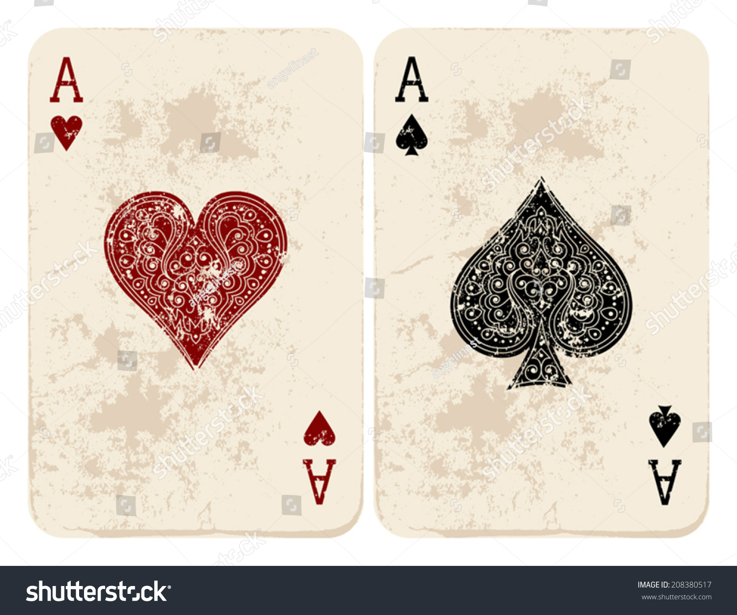Ace Hearts Spades Stock Vector 208380517 - Shutterstock