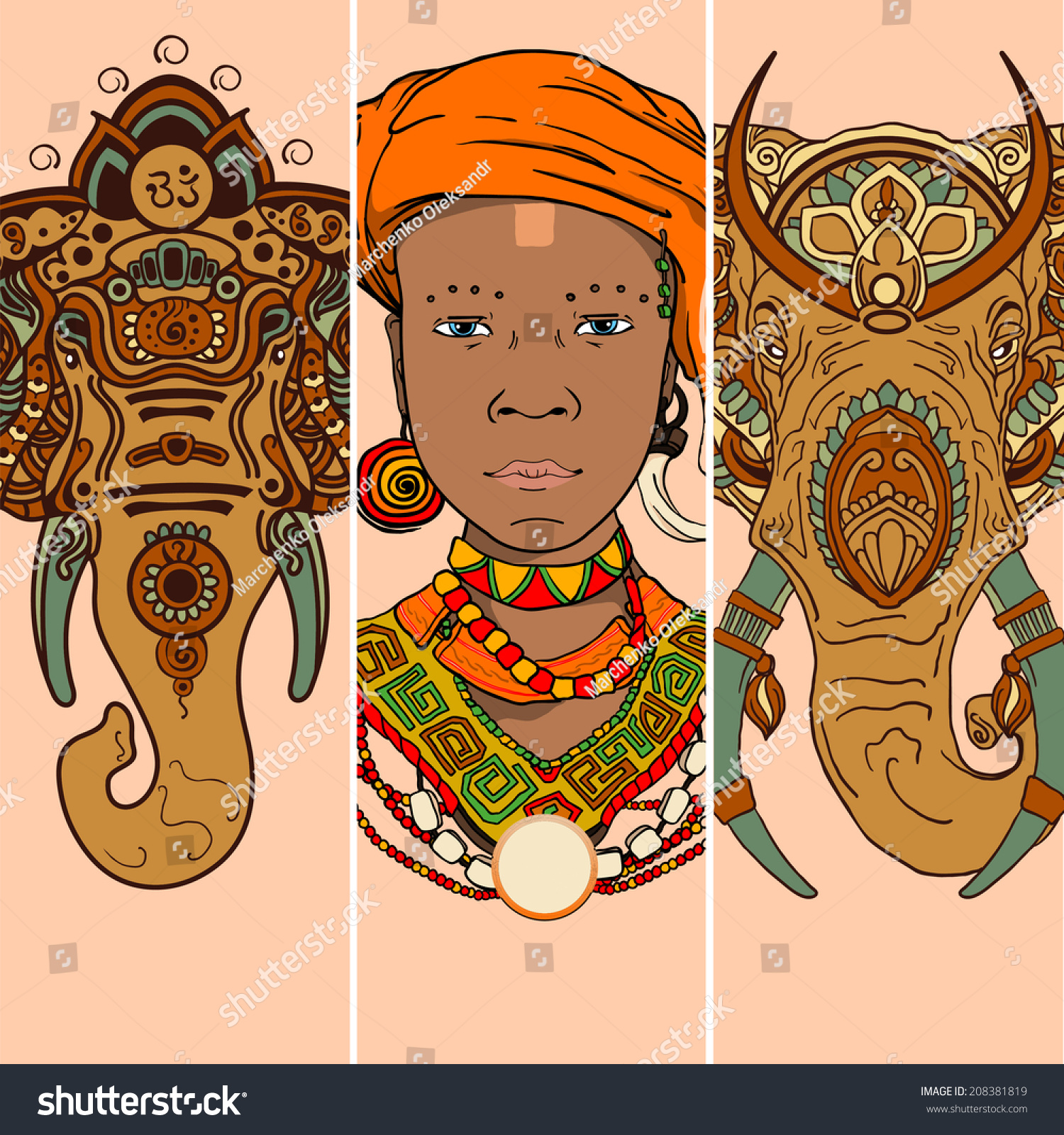Vector Graphic Set African Theme Elephant Stock Vector 208381819 ...