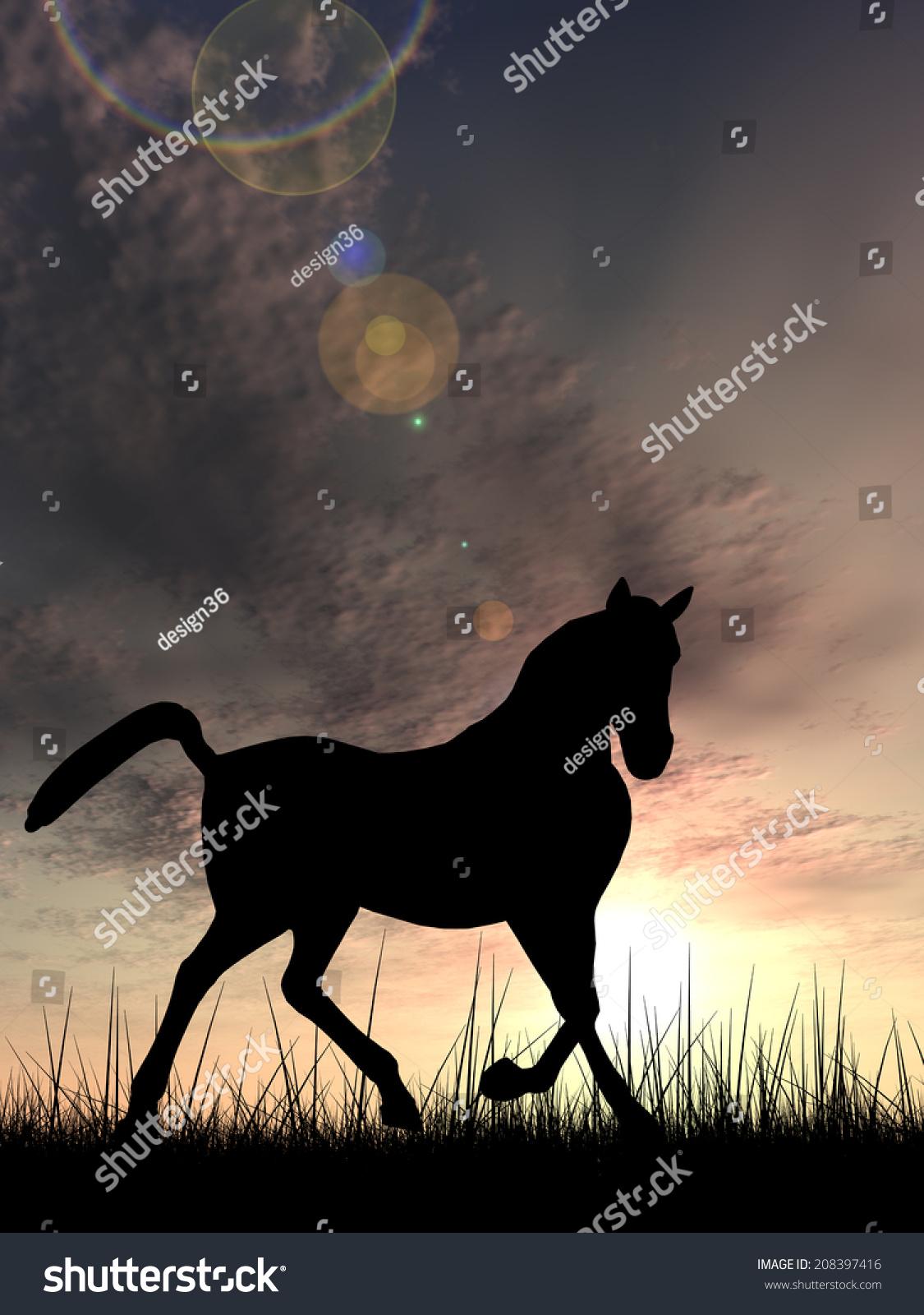 Concept Conceptual Young Beautiful Black Horse Stock Illustration 208397416