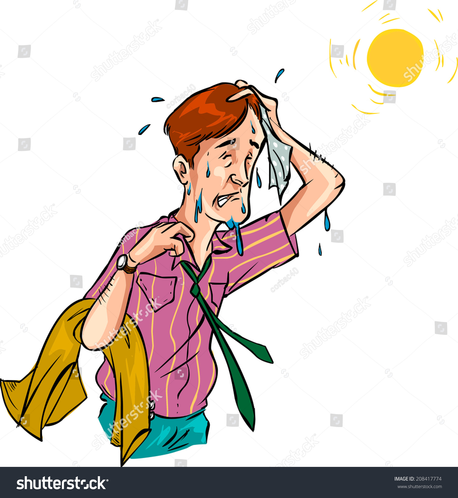 man hot weather vector stock vector 208417774 shutterstock rh shutterstock com hot weather clothes clipart very hot weather clipart