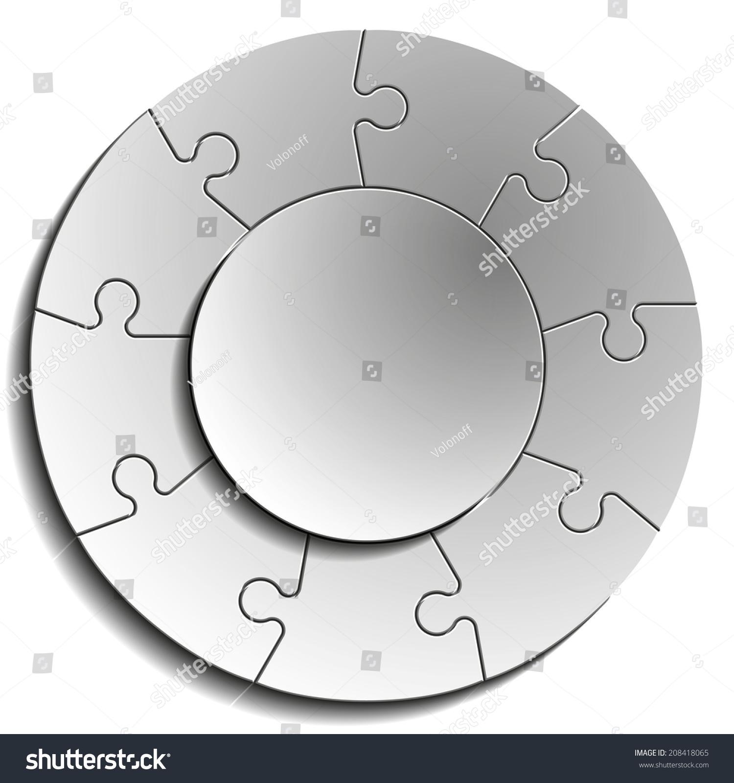 Nine Piece Flat Puzzle Round Infographic Stock Illustration ...