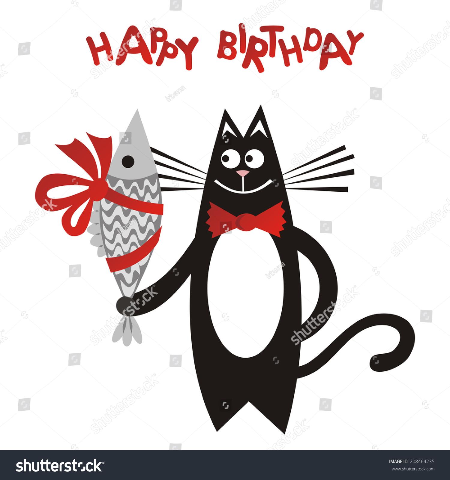Happy birthday greeting card cat fish stock photo photo vector happy birthday greeting card cat with fish vector illustration bookmarktalkfo Gallery