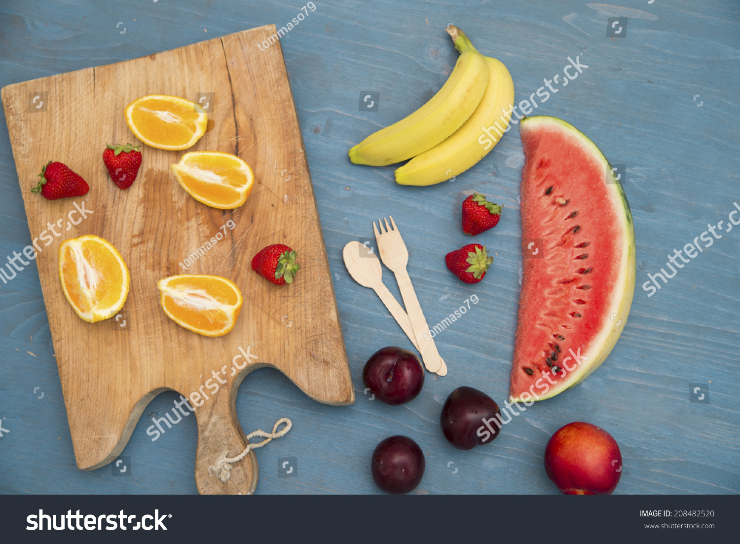 Example Sliced Fruits On Table Meaning Stock Photo (Edit Now