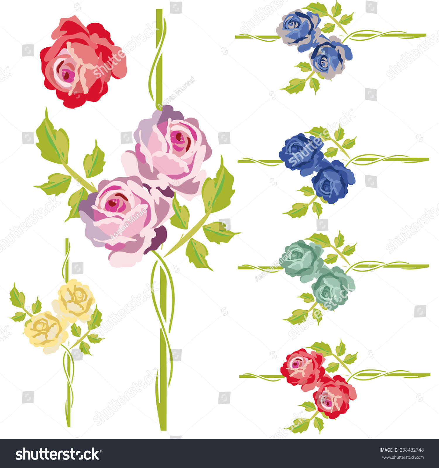 Vintage Rose Flower Vines Frames Borders Stock Vector ...