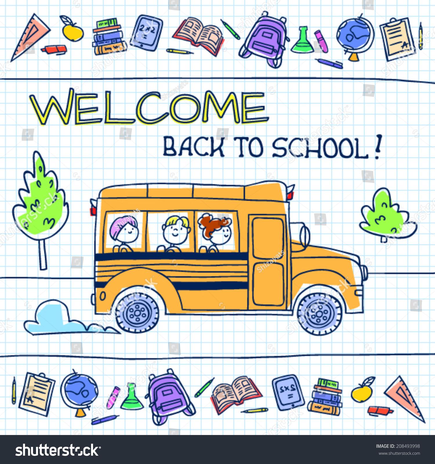 Children Riding School Bus Vector Illustration เวกเตอร์สต็อก
