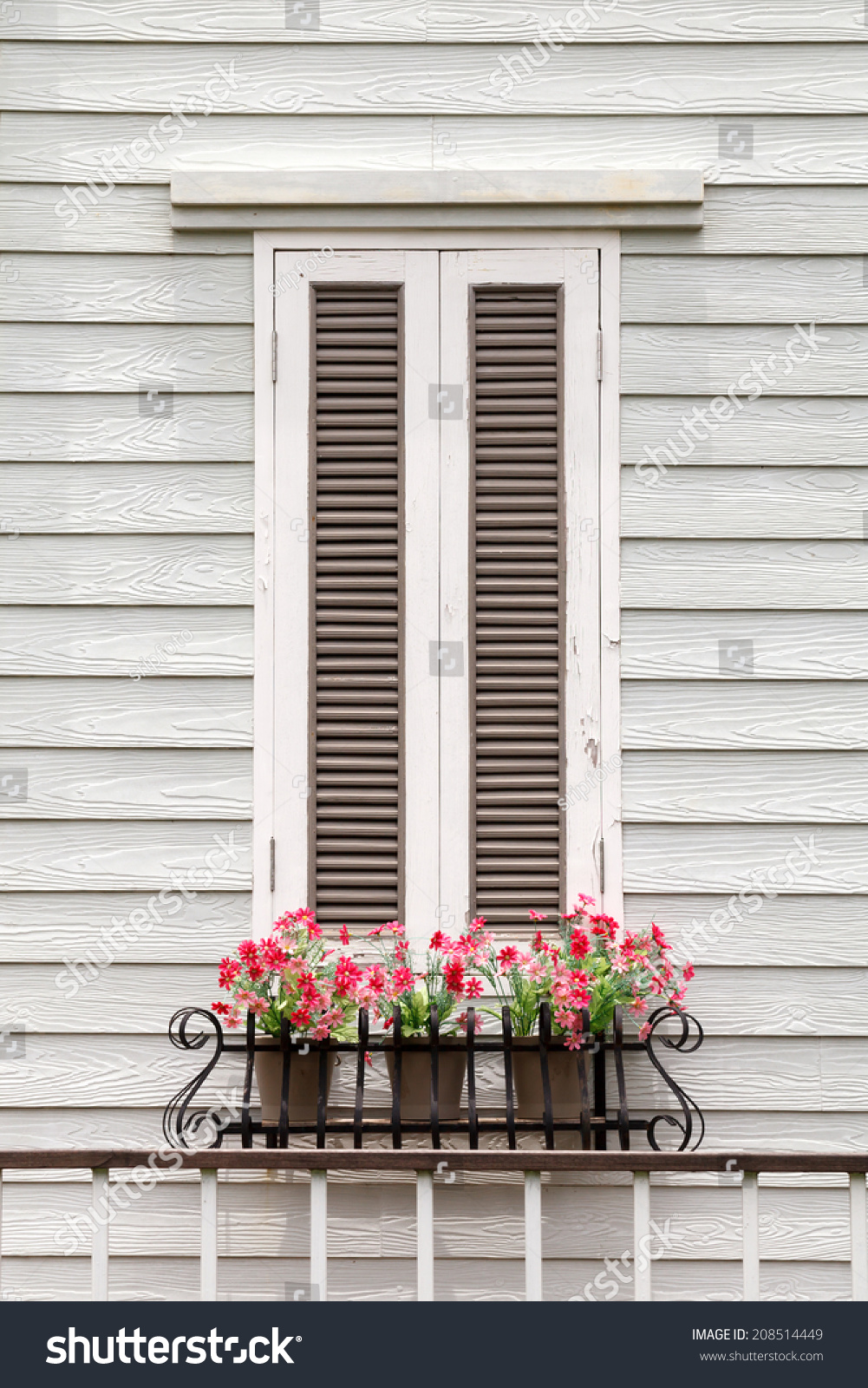 European Style Window And Flower Stock Photo 208514449