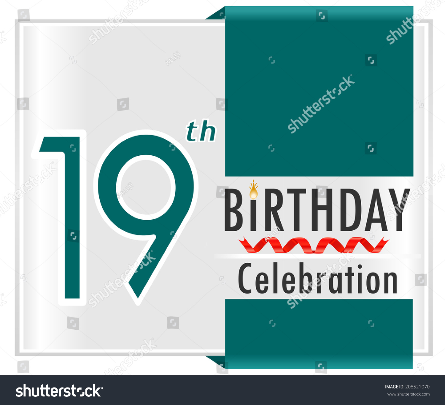 19th Birthday 19 Year Celebration Card With Vibrant