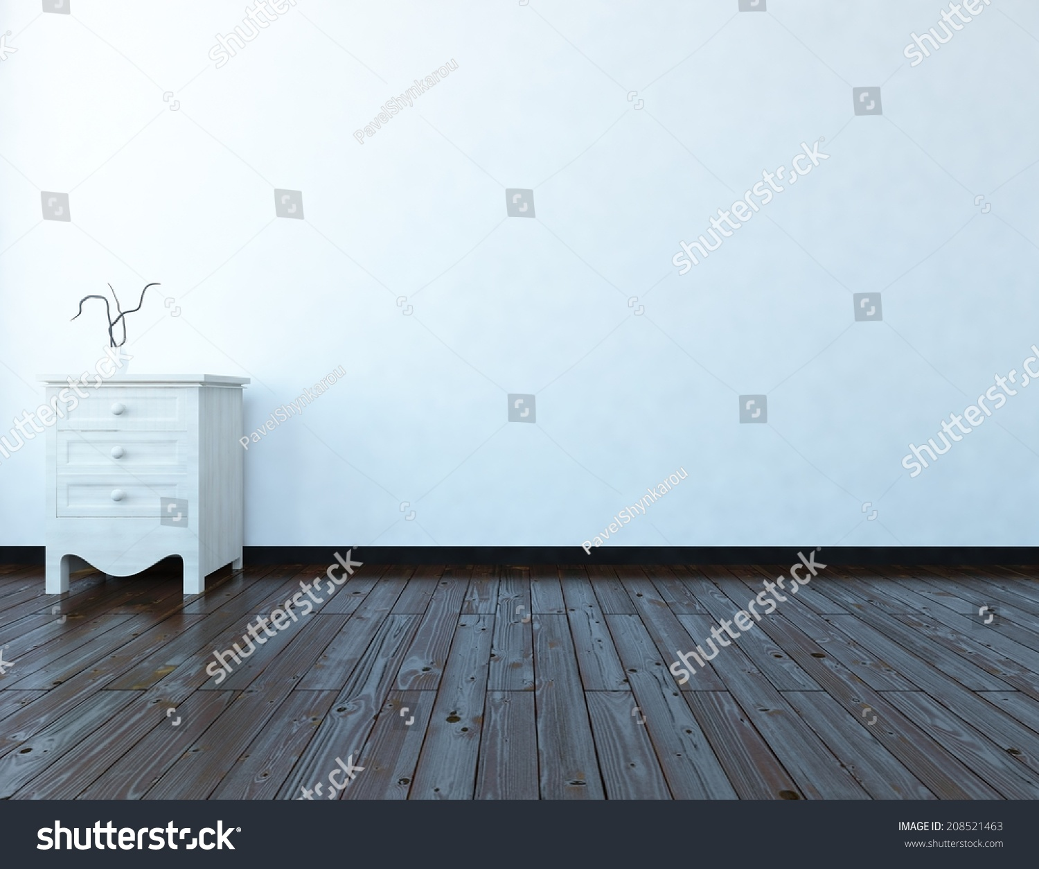 white empty interior with a bedside table