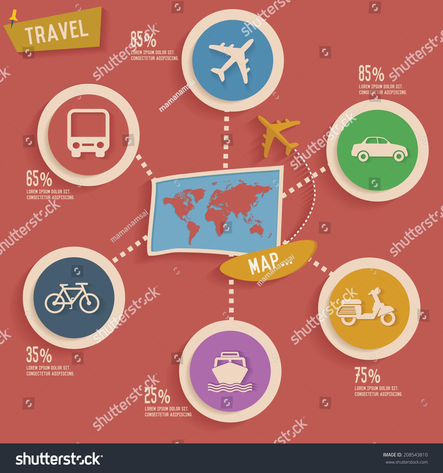 Travel Map Info Graphic Designclean Vector Stock Vector Hd Royalty