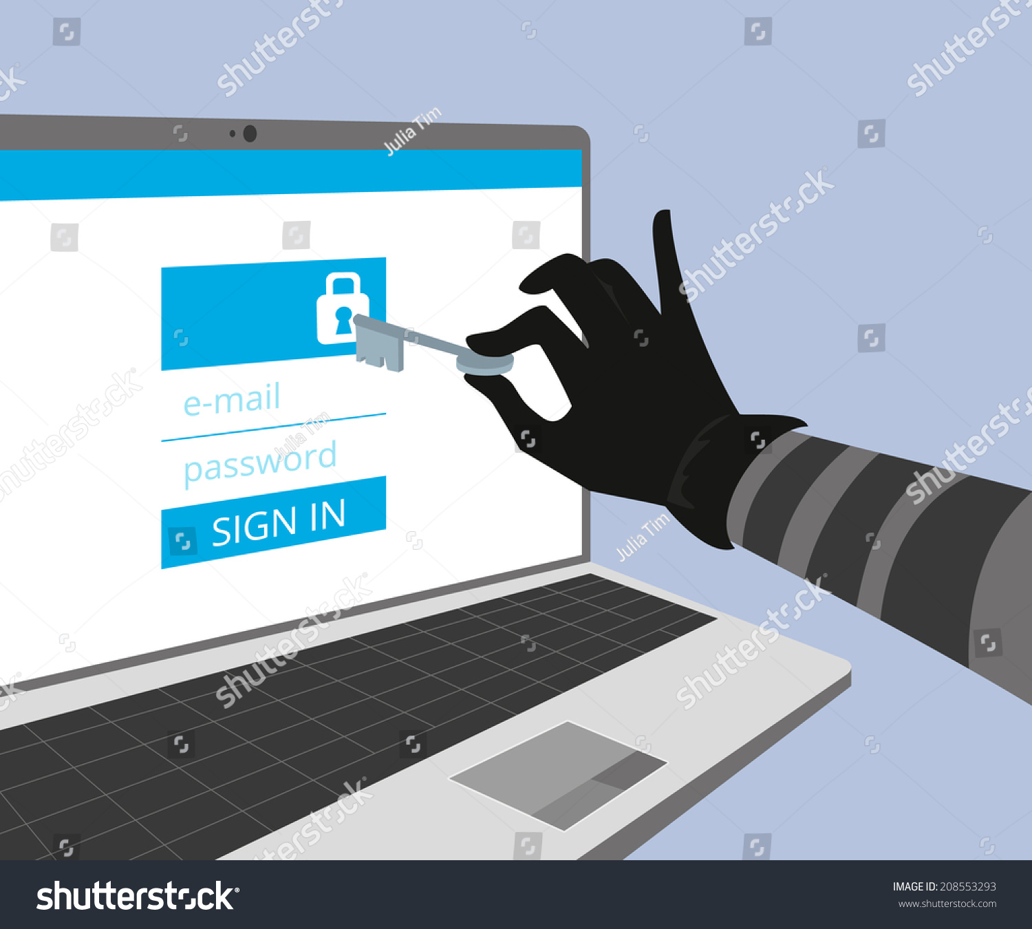 Hacking Account Social Networking Thief Hand Stock Vector ...