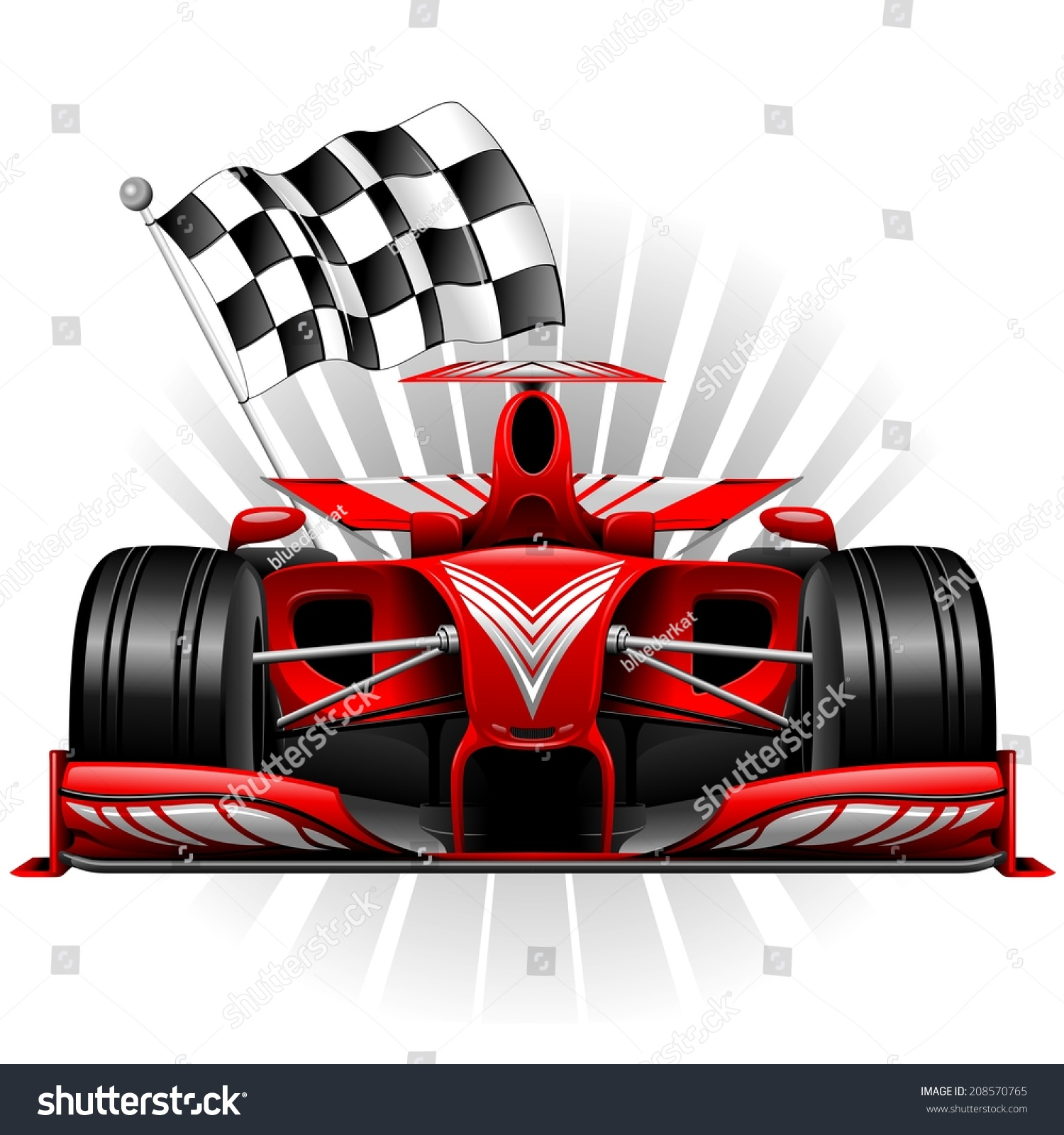 Design car flags - Red Race Car With Checkered Flag
