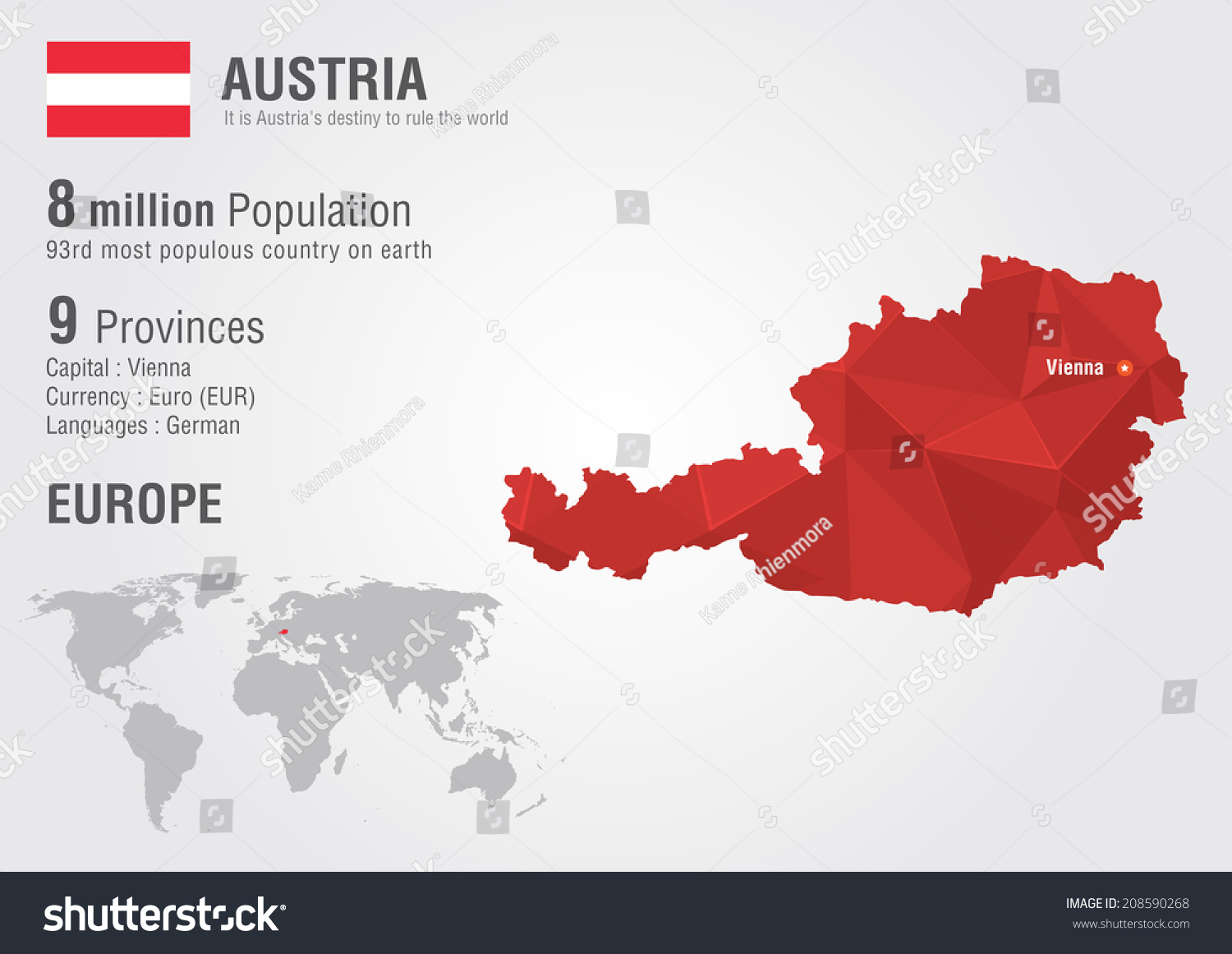 Austria World Map Pixel Diamond Texture Stock Vector - Austria on world map