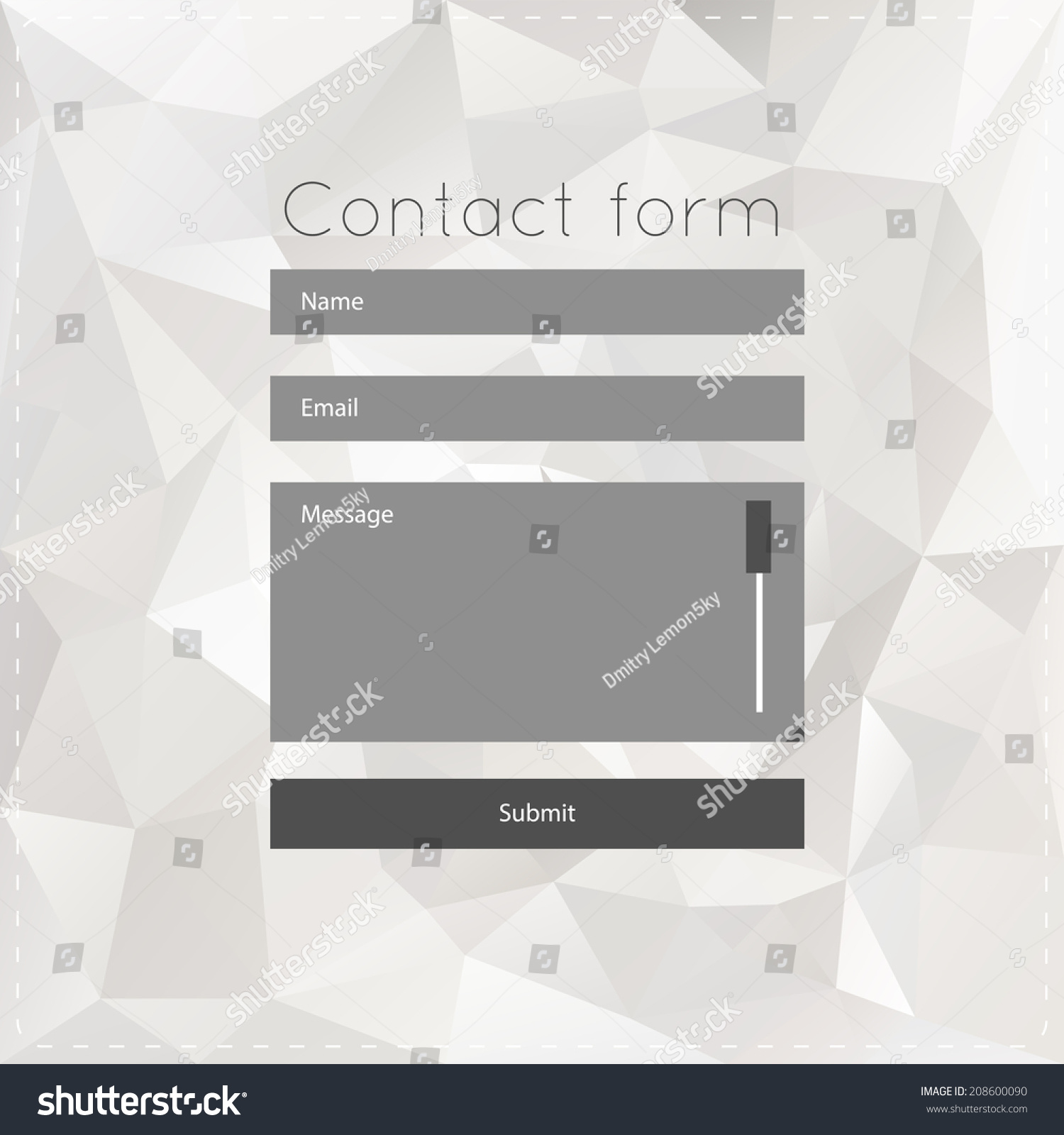 Simple Contact Us Form Templates Vector Stock Vector (Royalty Free ...