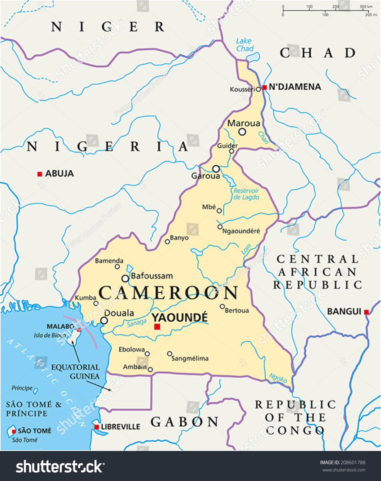 Cameroon Political Map Capital Yaounde National Stock Photo Photo