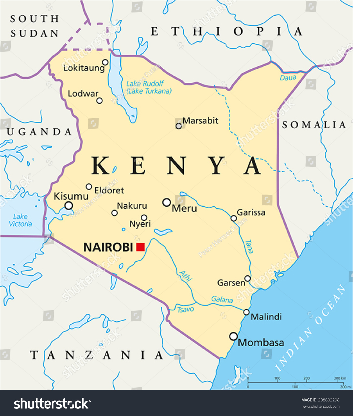 Kenya Political Map Political Map Kenya Stock Vector