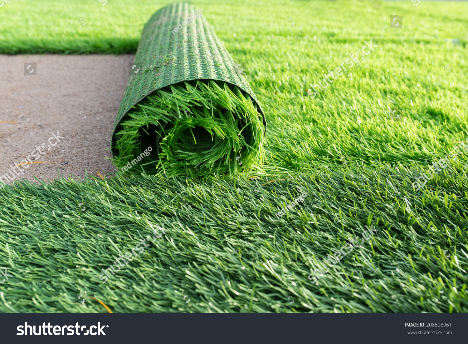green grass soccer field. Green Artificial Grass Soccer Field
