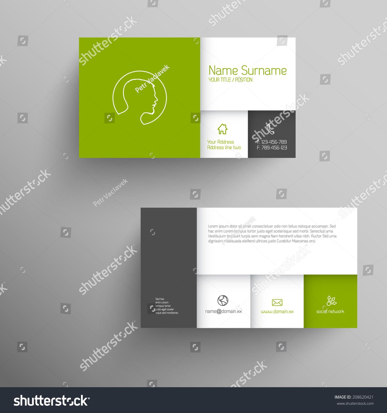 Modern Green Simple Business Card Template Stock Vector - Mobile business card template