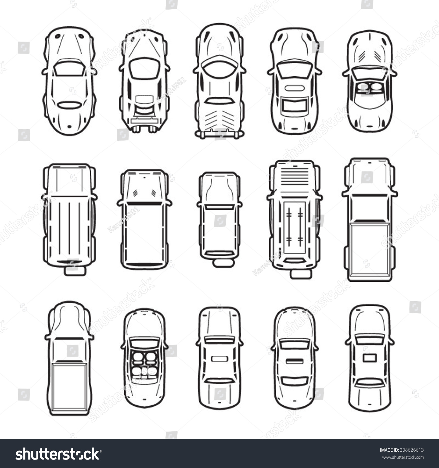 Car top view outline vector 10
