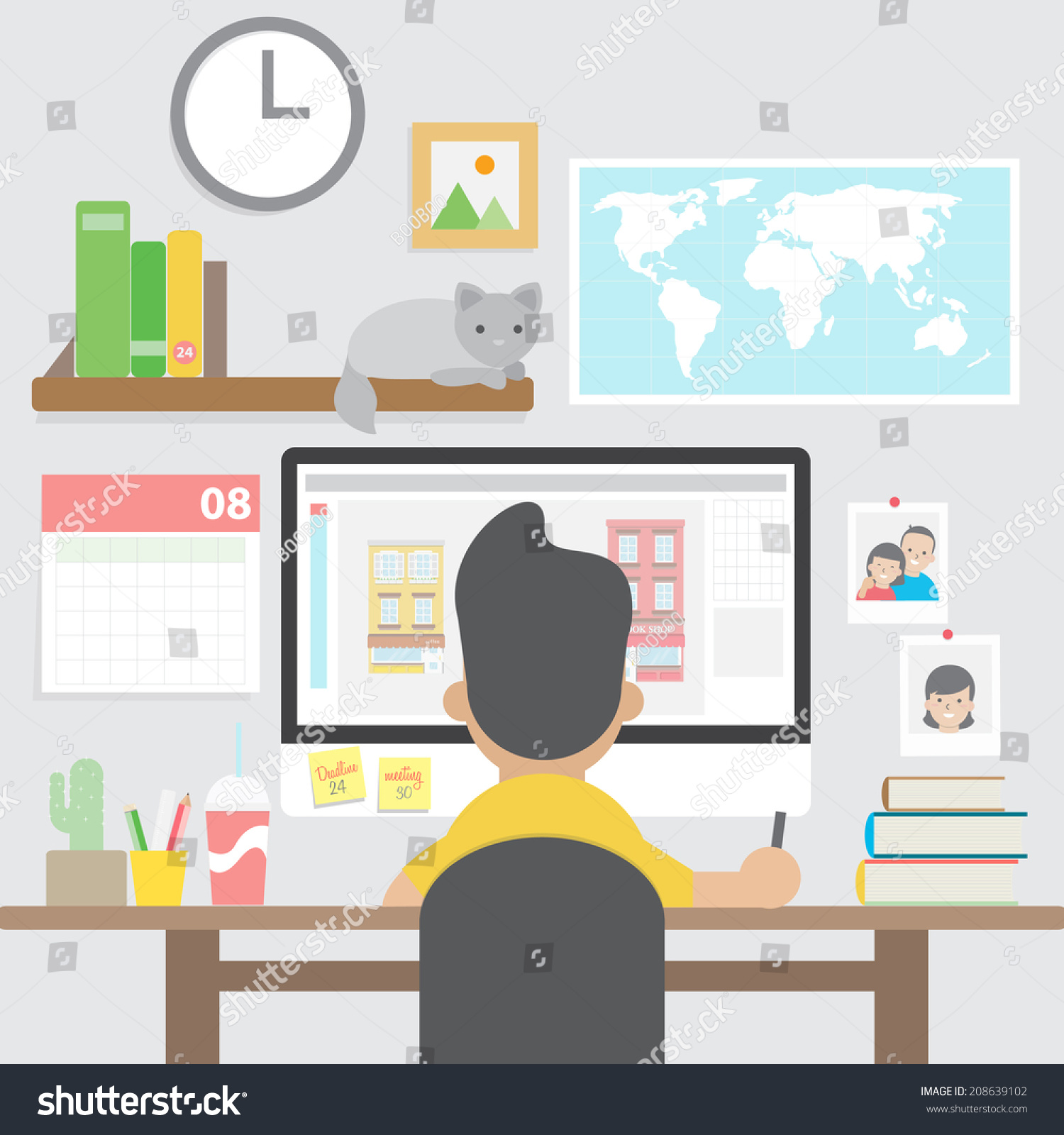 graphic designer working with computer in home office workspace stock vector illustration. Black Bedroom Furniture Sets. Home Design Ideas