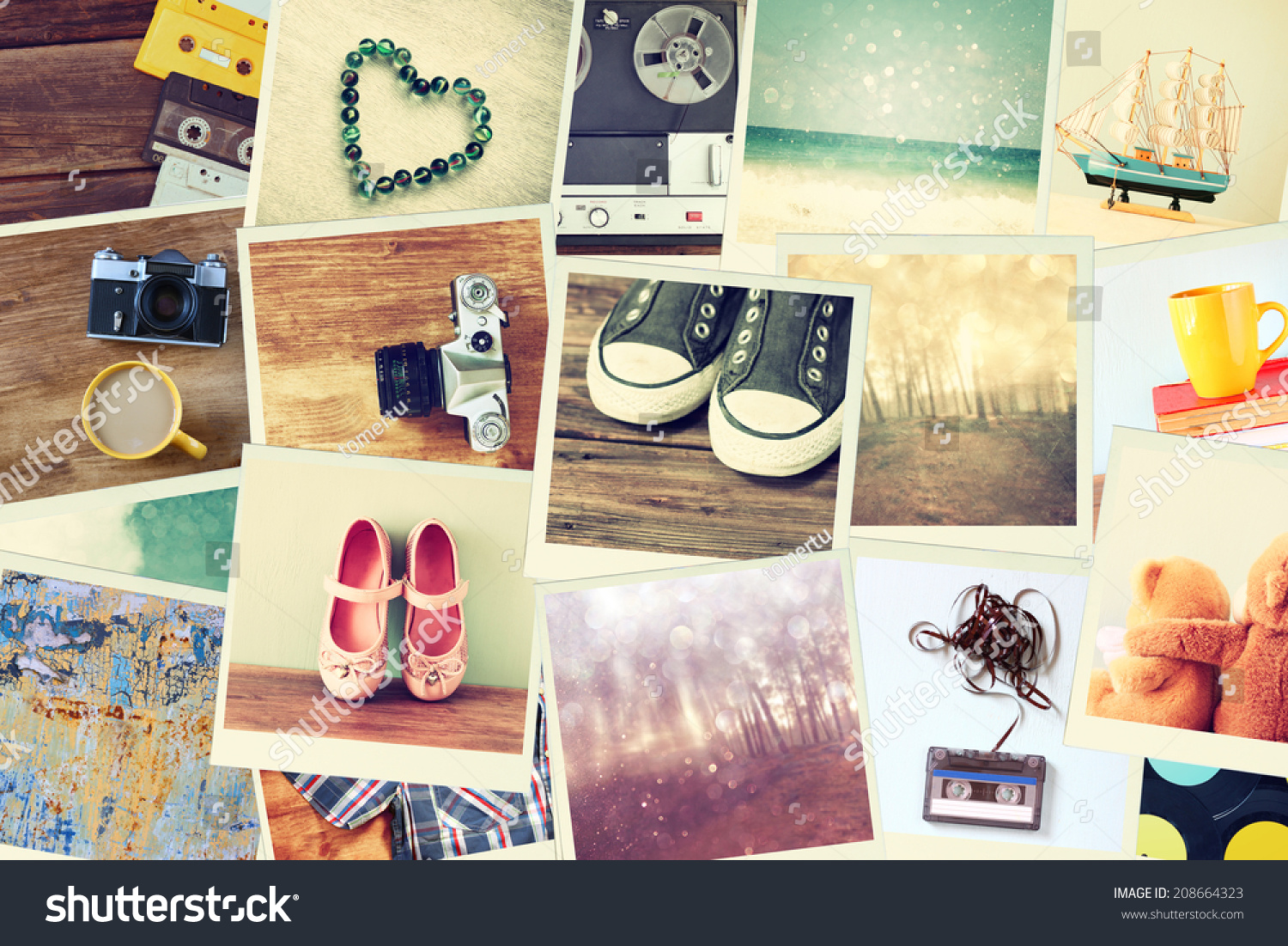Mosaic Pictures Different Objects Collage Retro Foto de stock (libre ...