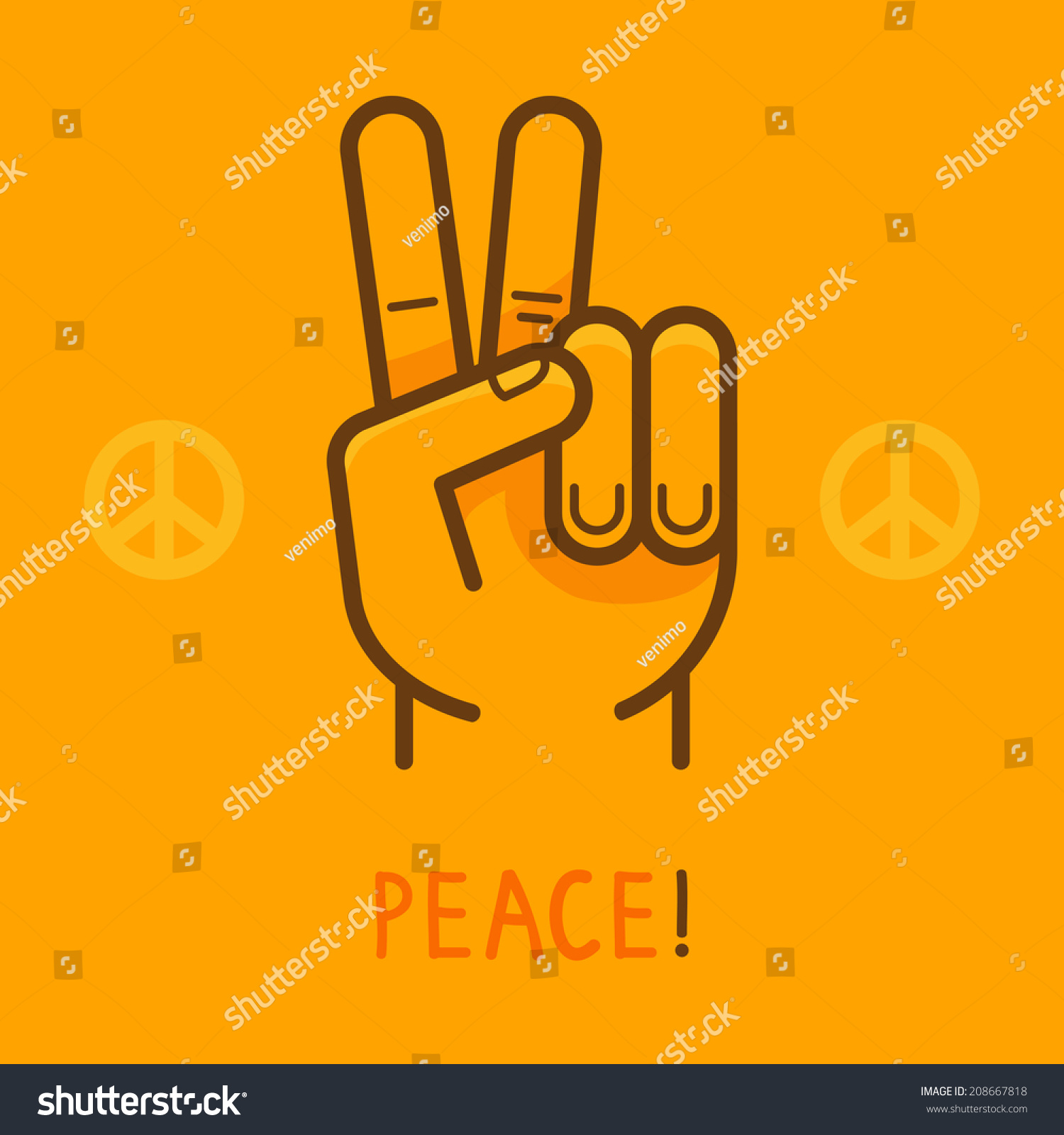 Vector peace sign hand showing two stock vector royalty free vector peace sign hand showing two fingers modern flat illustration on yellow background maxwellsz