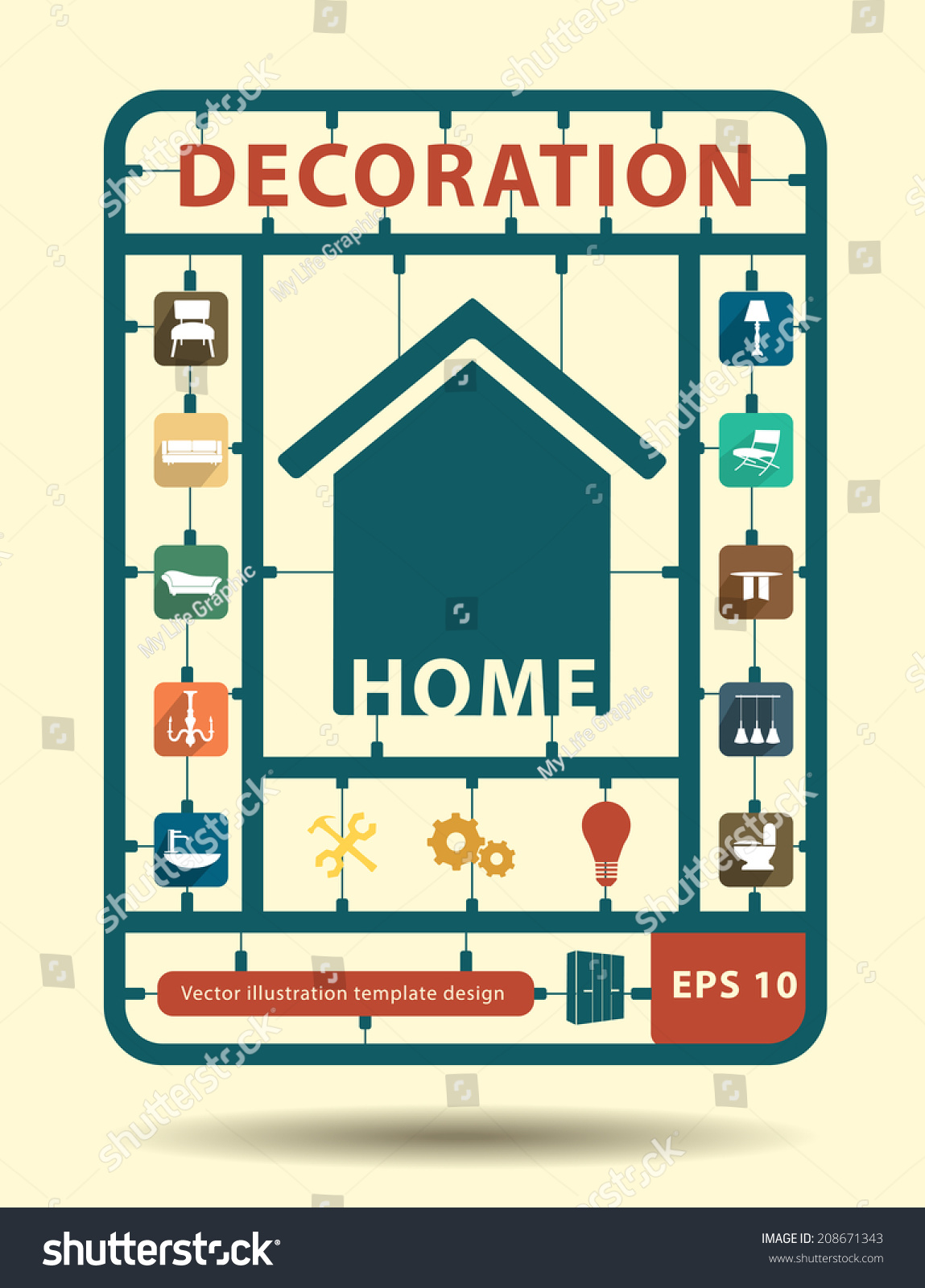 Furniture Flat Icons Home Decoration Idea Concept, With Creative Plastic  Model Kits, Info Graphic