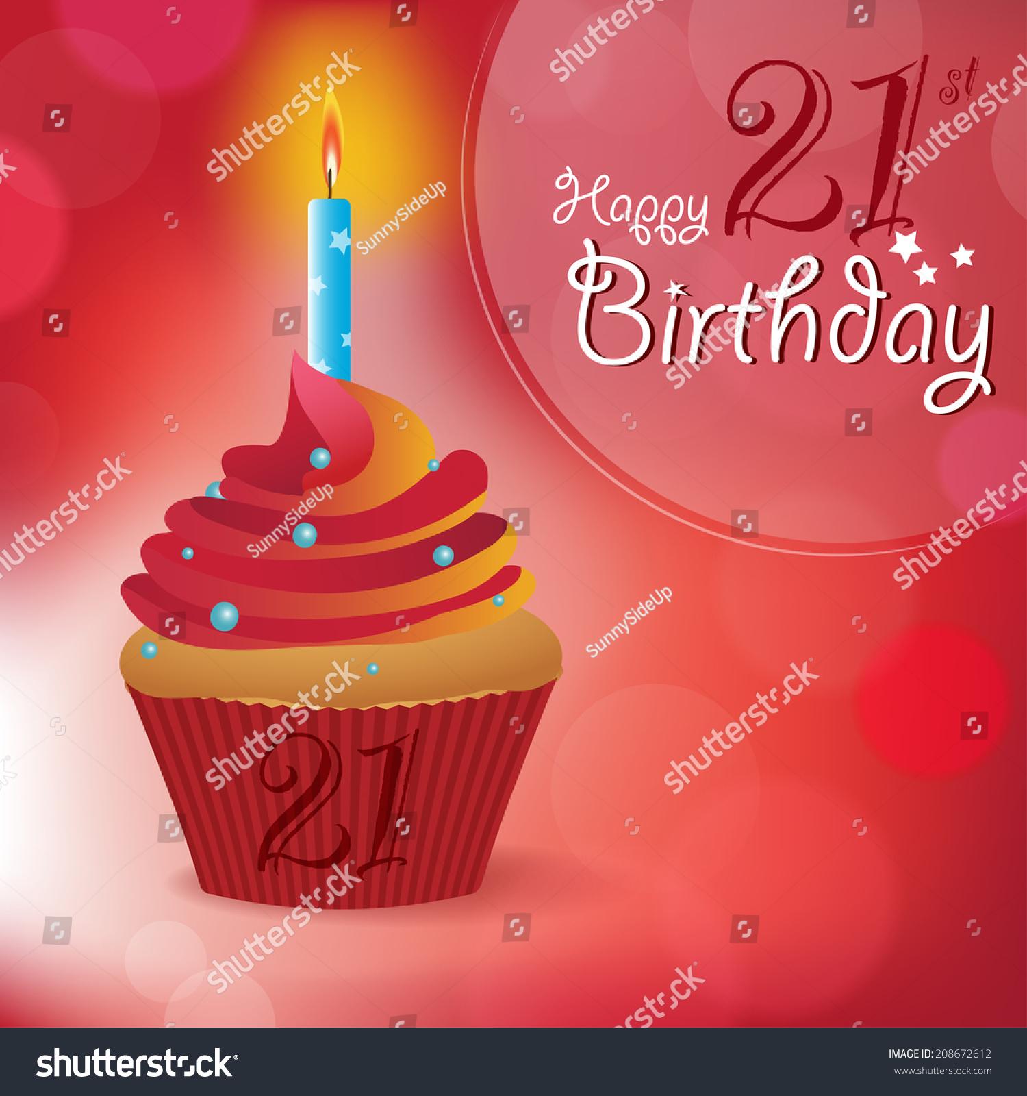 Happy 21st Birthday Greeting Invitation Message Stock Vector