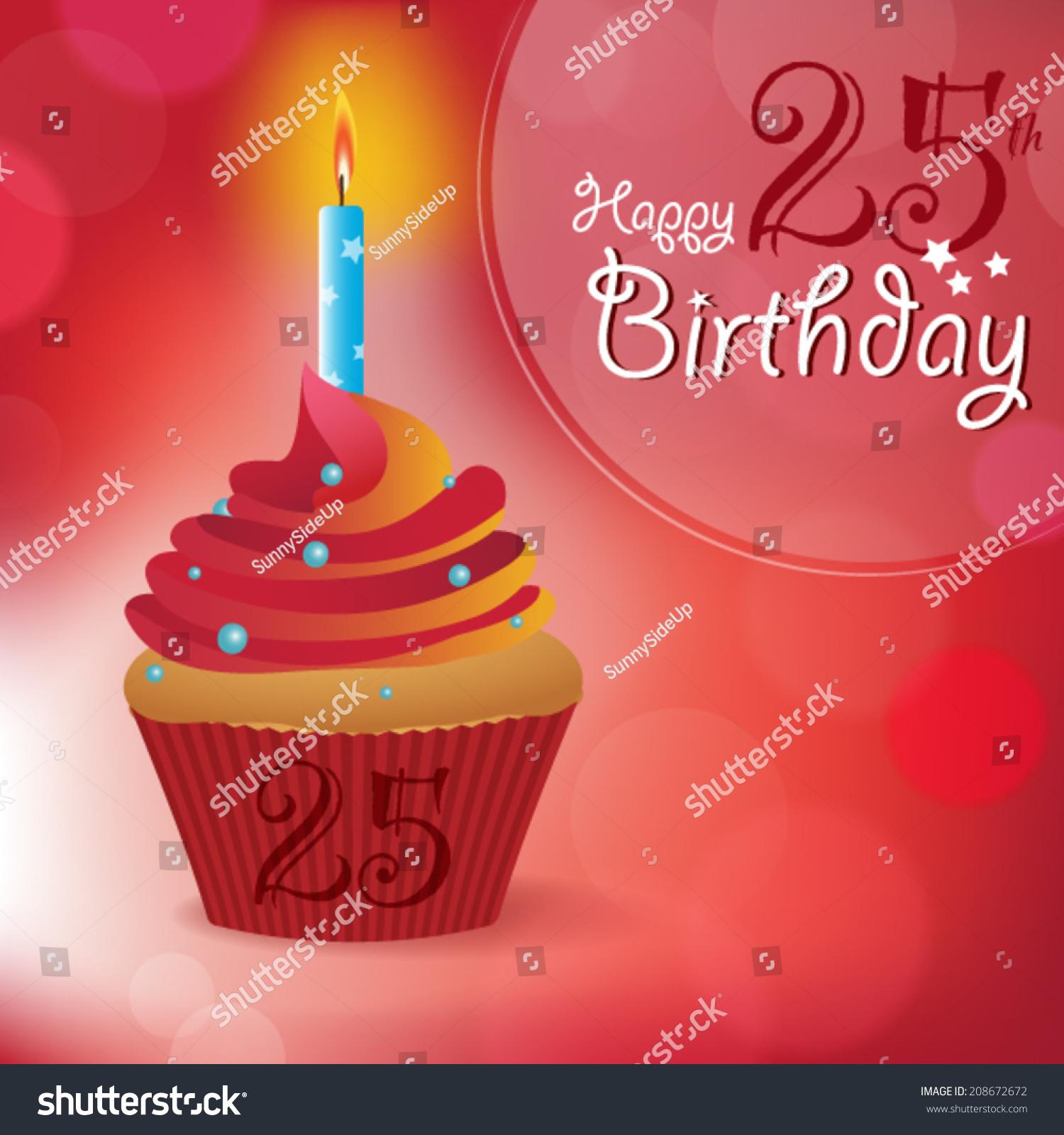 Happy 25th Birthday Greeting Invitation Message Stock Vector