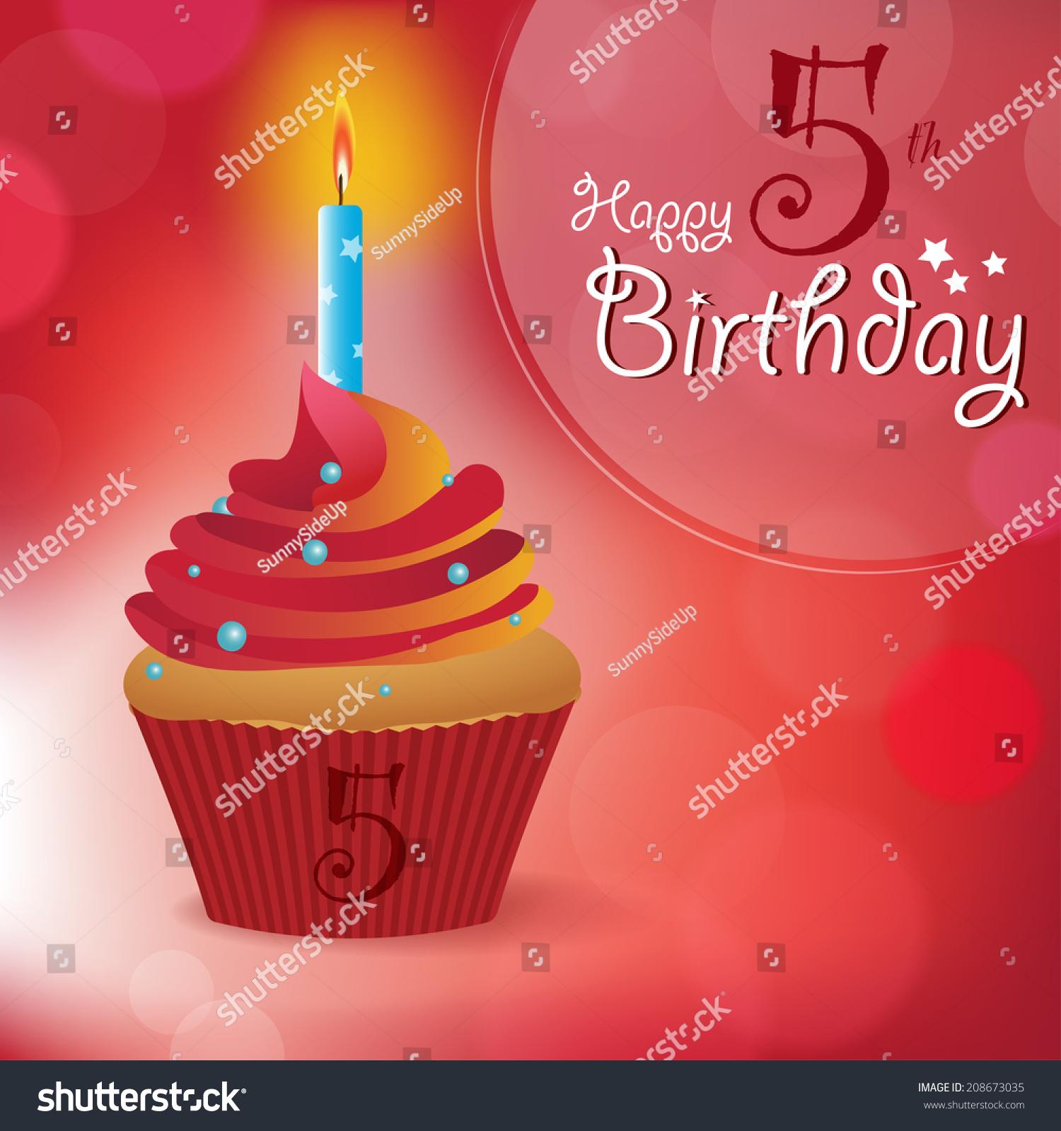 Happy 5th Birthday Greeting Invitation Message Bokeh
