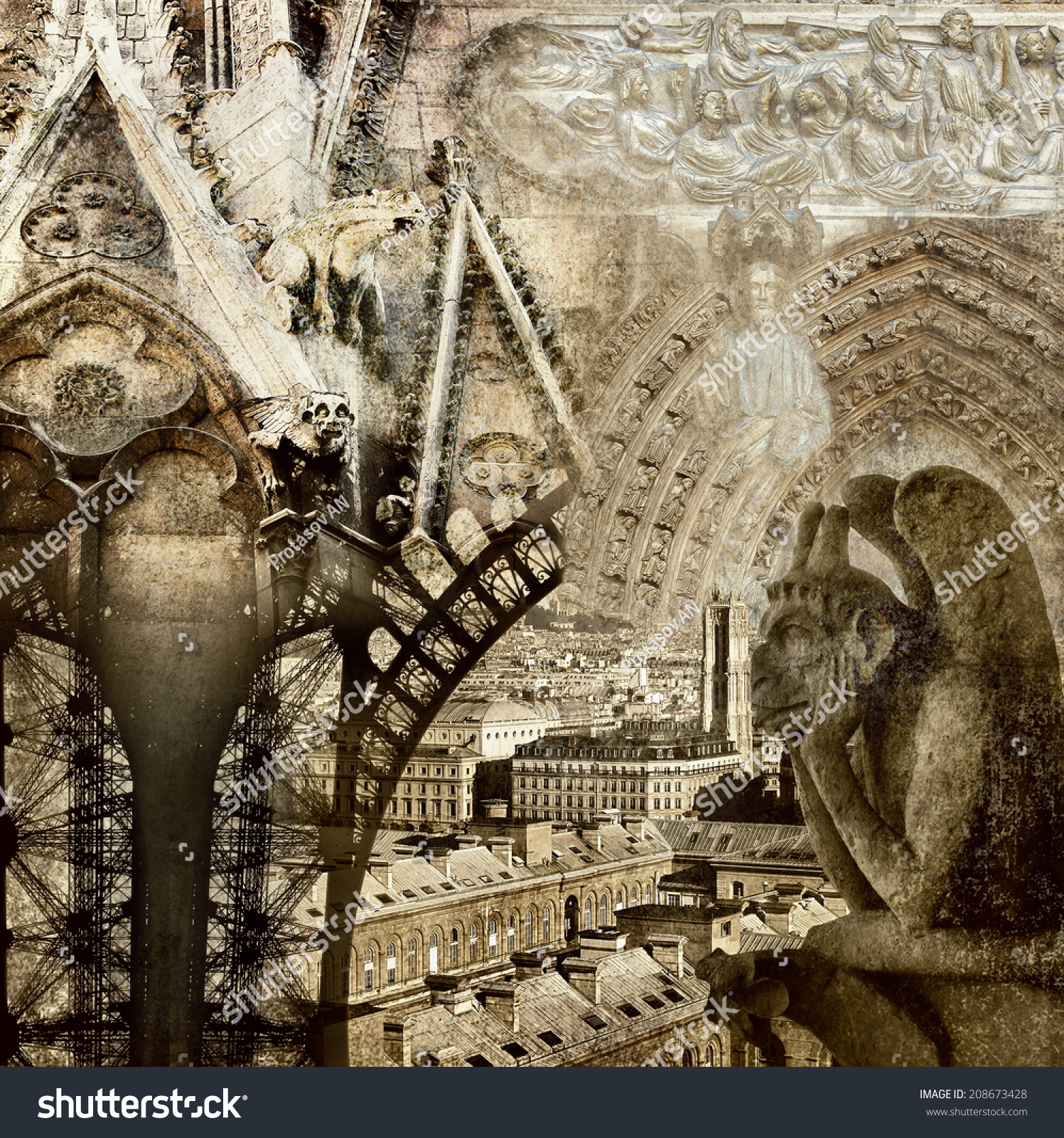 Textured grunge paper background with paris architecture for Paris architecture style