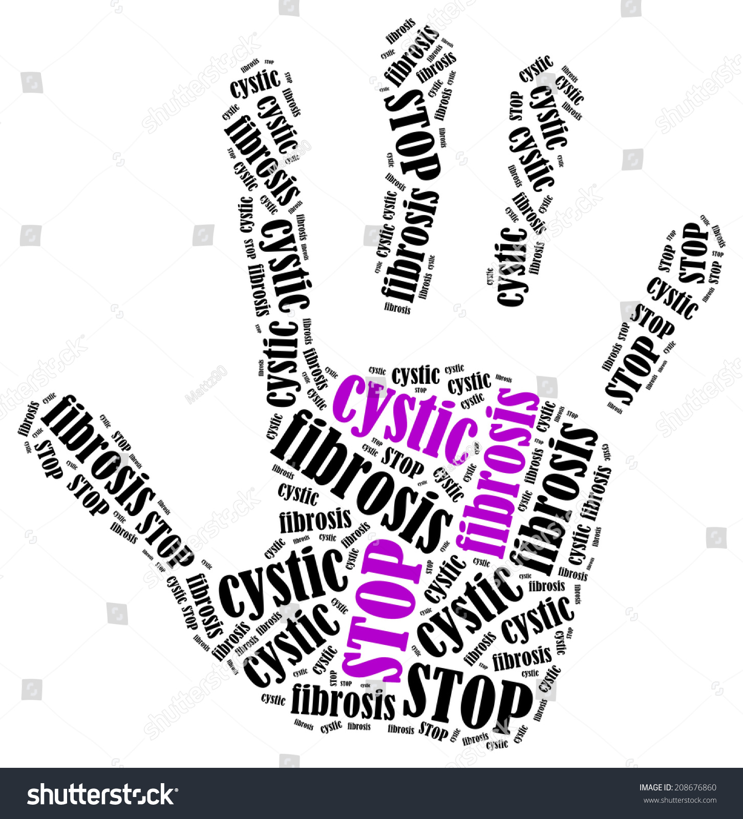 Stop cystic fibrosis word cloud illustration stock illustration stop cystic fibrosis word cloud illustration in shape of hand print showing protest buycottarizona
