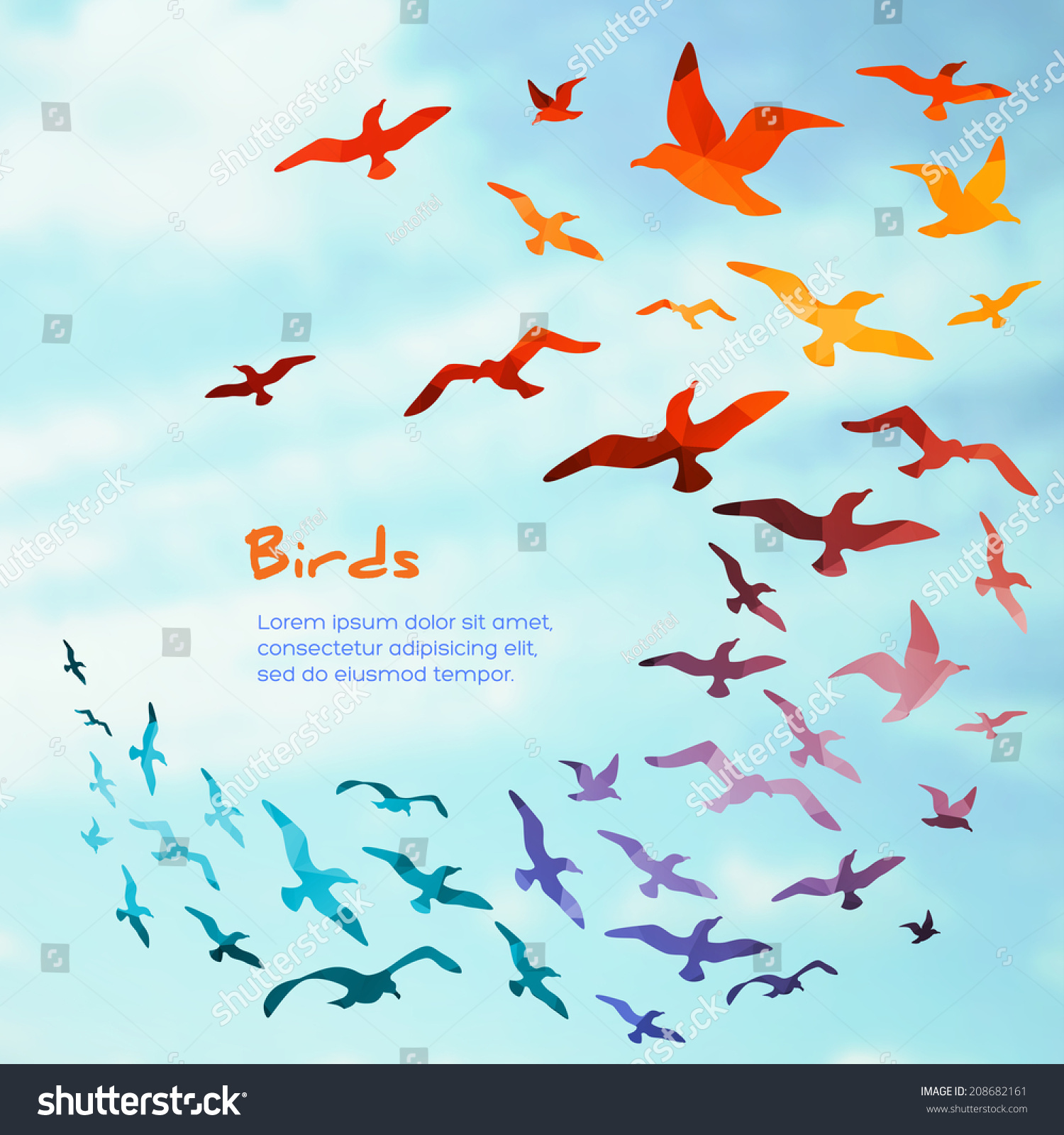 Stock Vector Colorful Silhouettes Of Flying Birds Vector Illustration