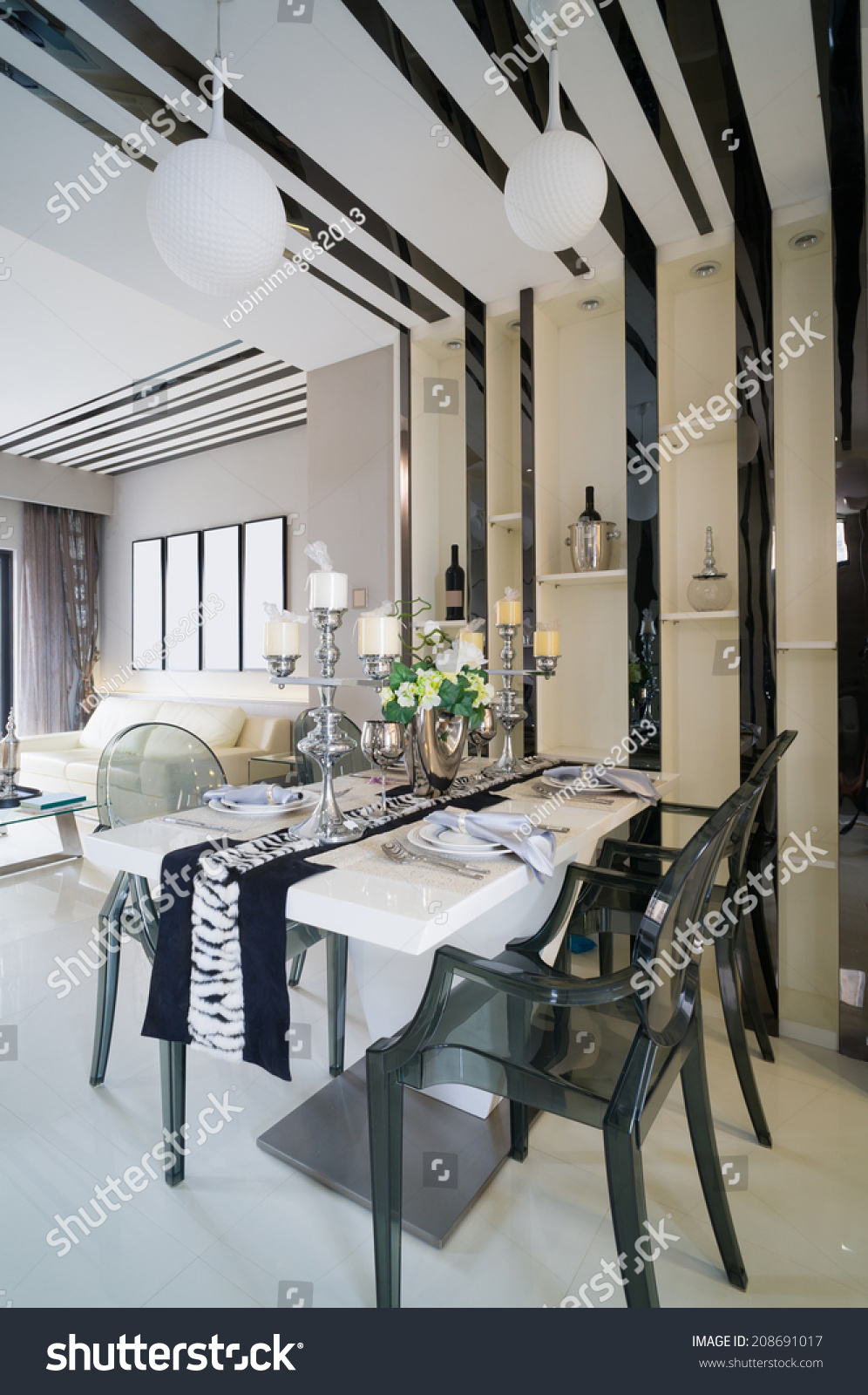Modern dining room nice decoration stock photo