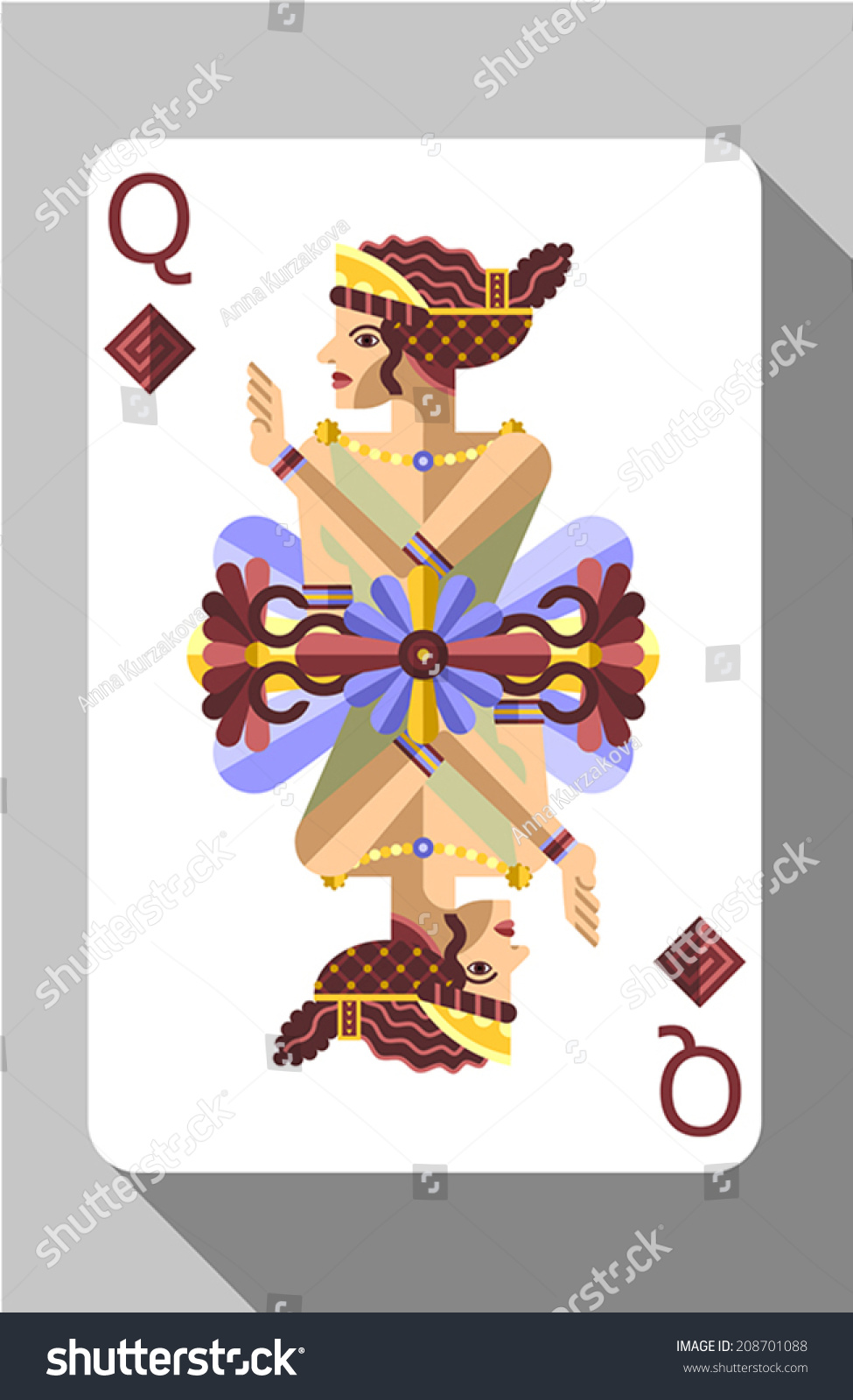 Vector ancient greece symbols decorations playing stock vector vector ancient greece symbols decorations and playing card queen biocorpaavc