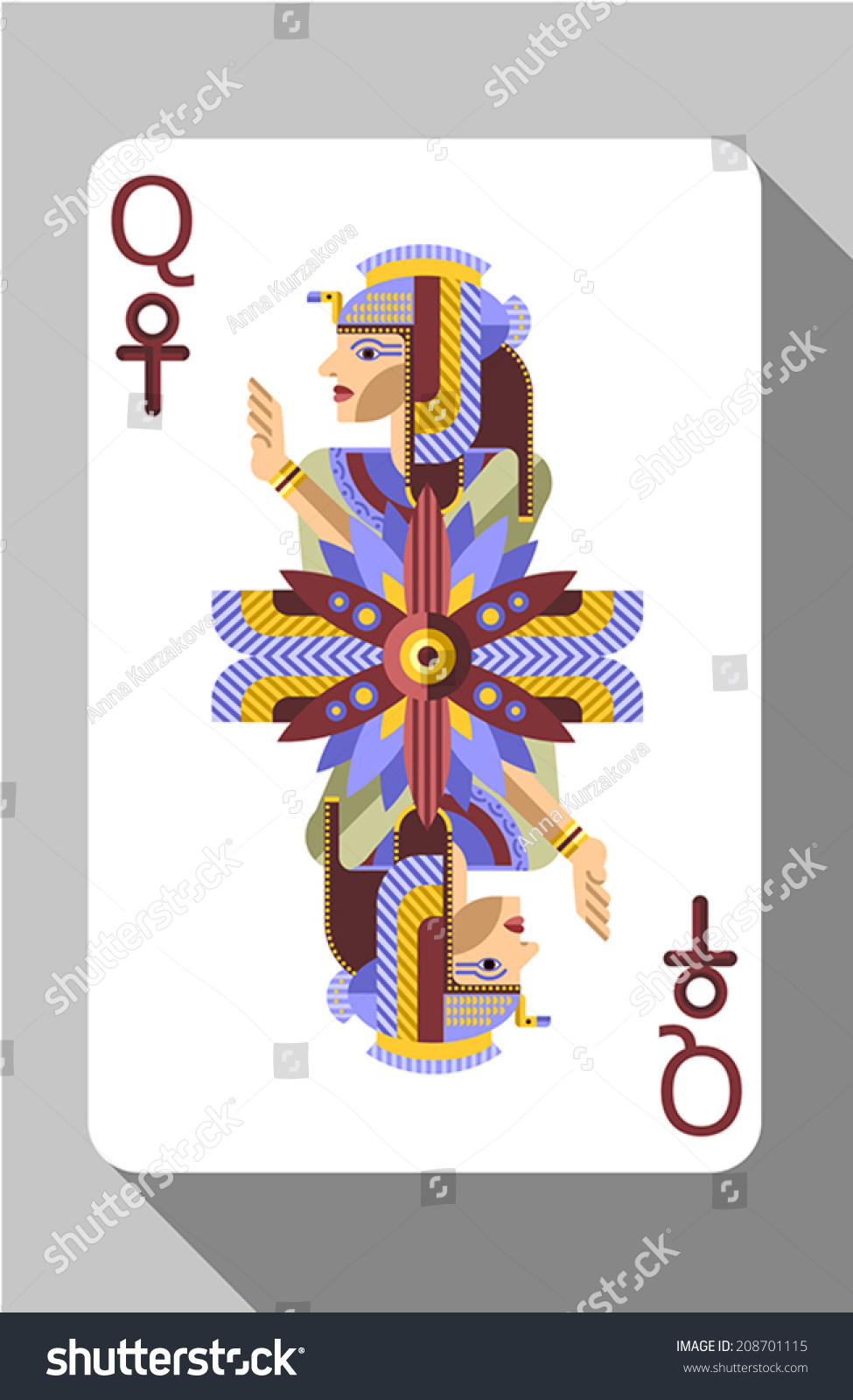 Vector ancient egyptian symbols decorations playing stock vector vector ancient egyptian symbols decorations and playing card queen biocorpaavc
