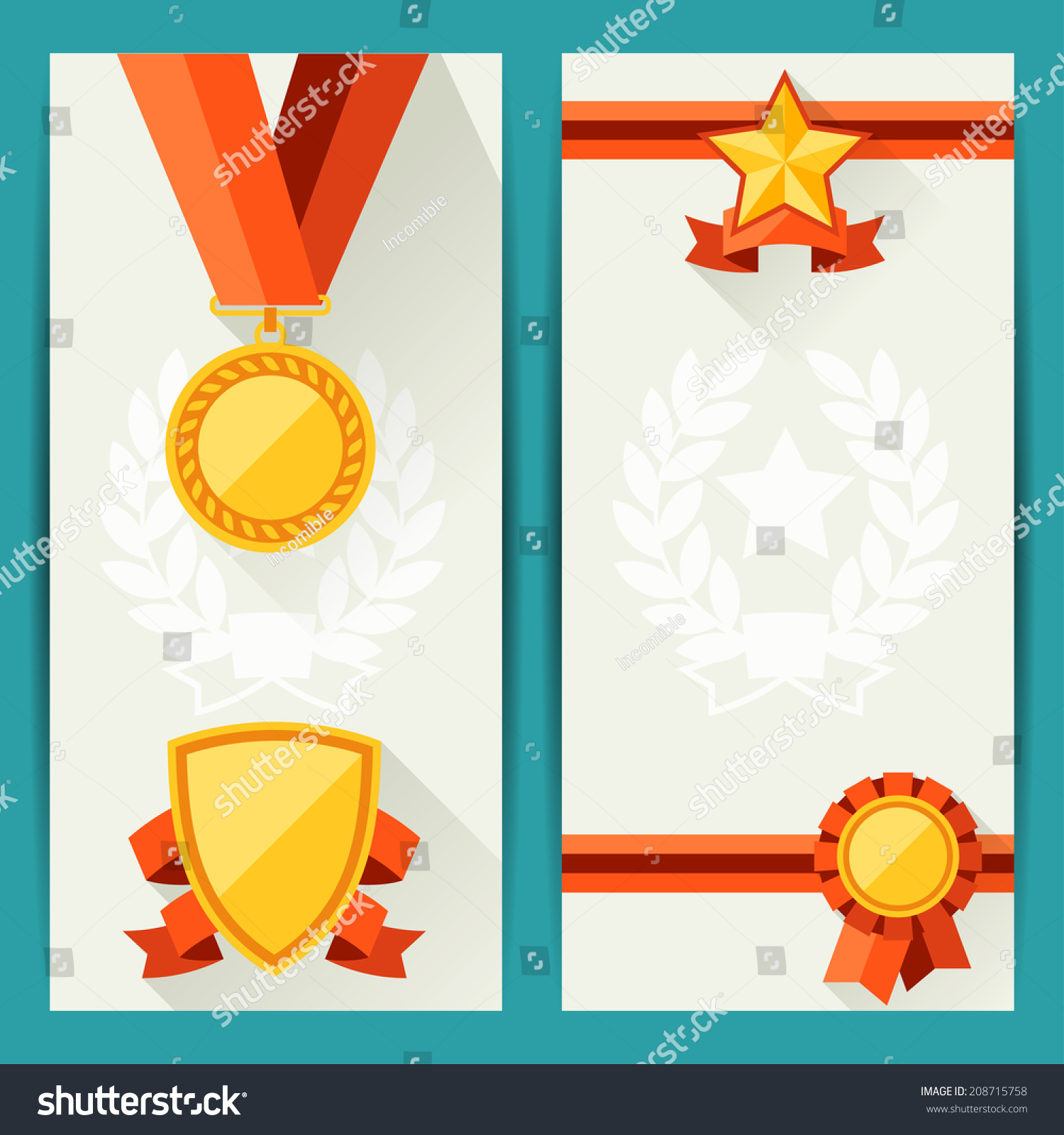 Certificate templates awards flat design style stock vector certificate templates with awards in flat design style yelopaper Images