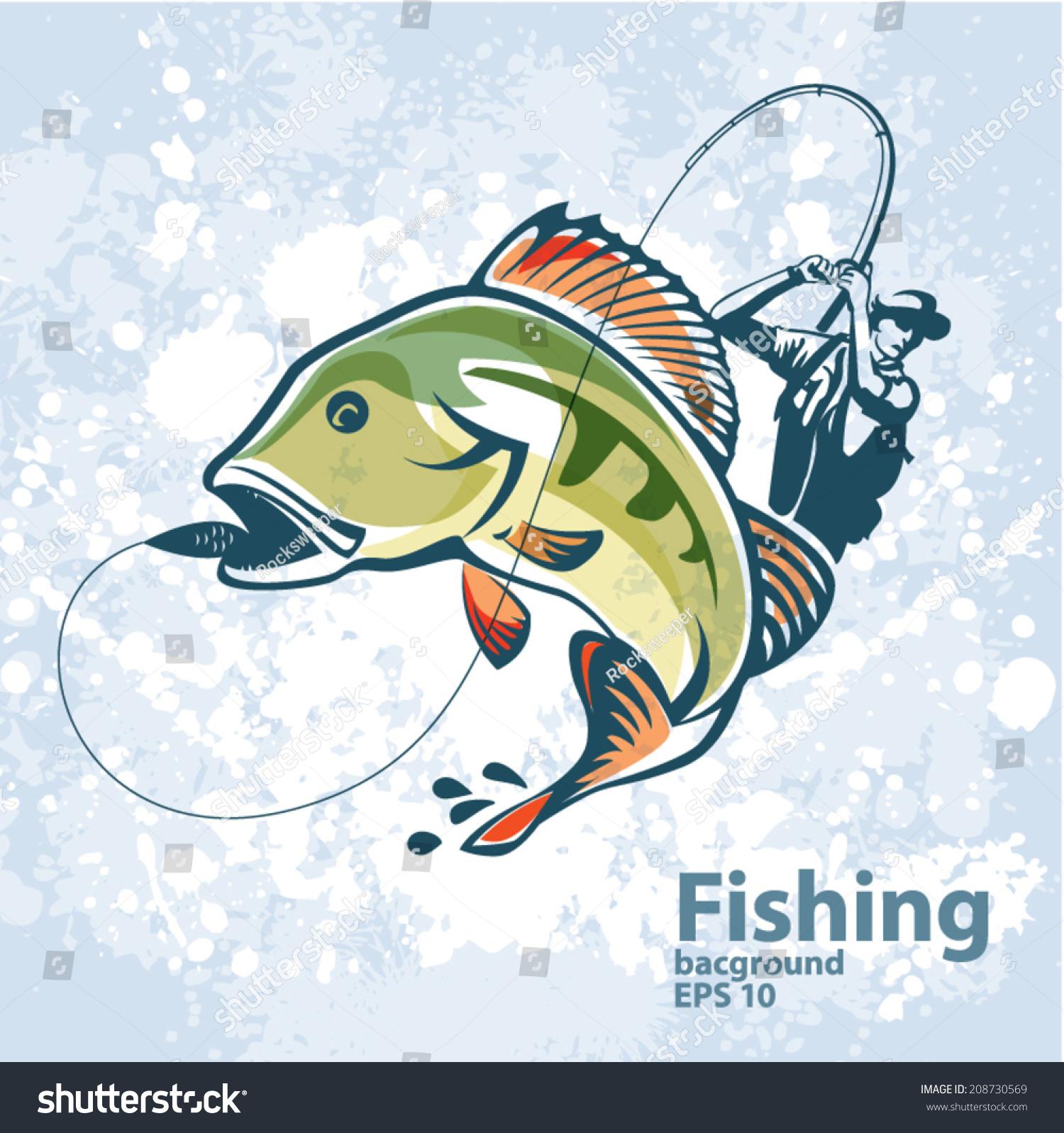 Fishing Vector Labels Stock Vector 208730569 - Shutterstock