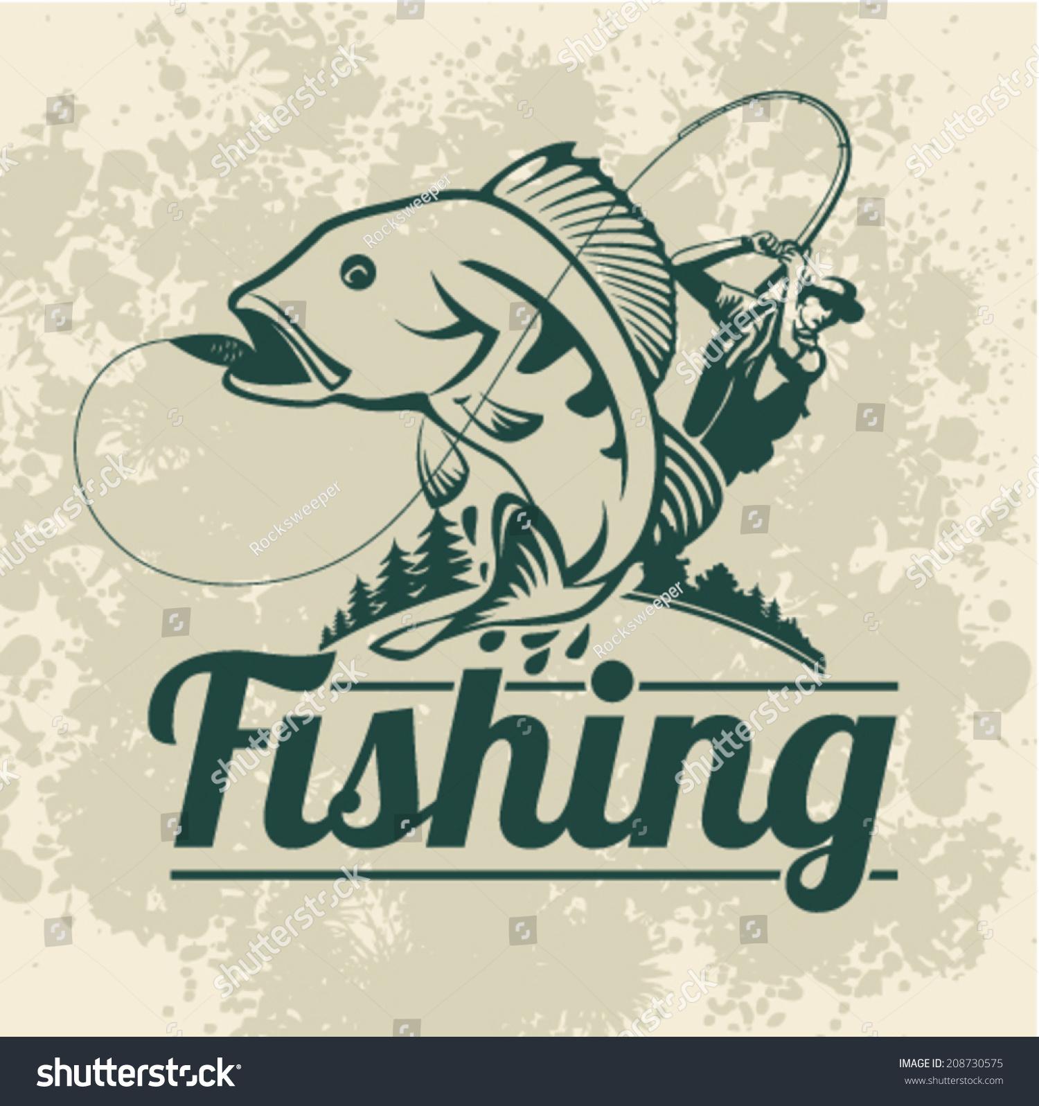 Fishing Vector Labels Stock Vector 208730575 - Shutterstock