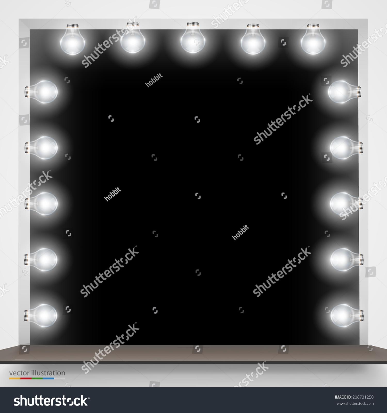 Vector Illustration Mirror Bulbs Makeup Background Stock