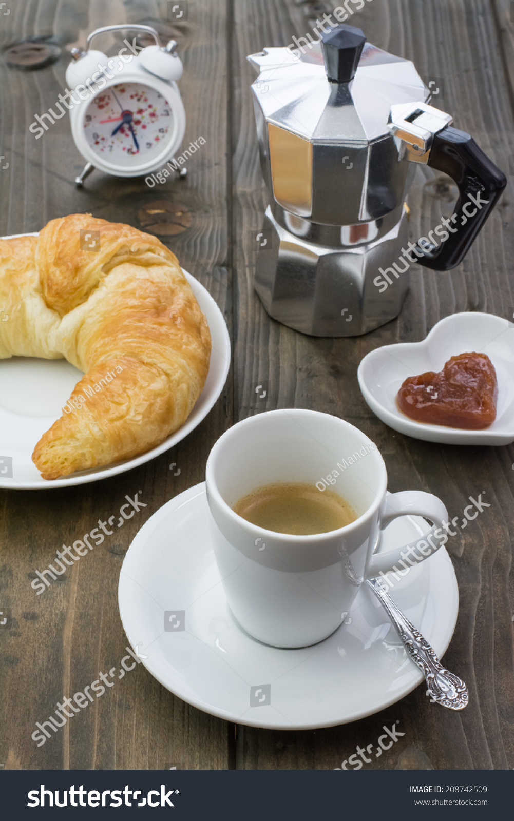 Black Coffee Fresh Homemade Croissant Butter Stock Photo