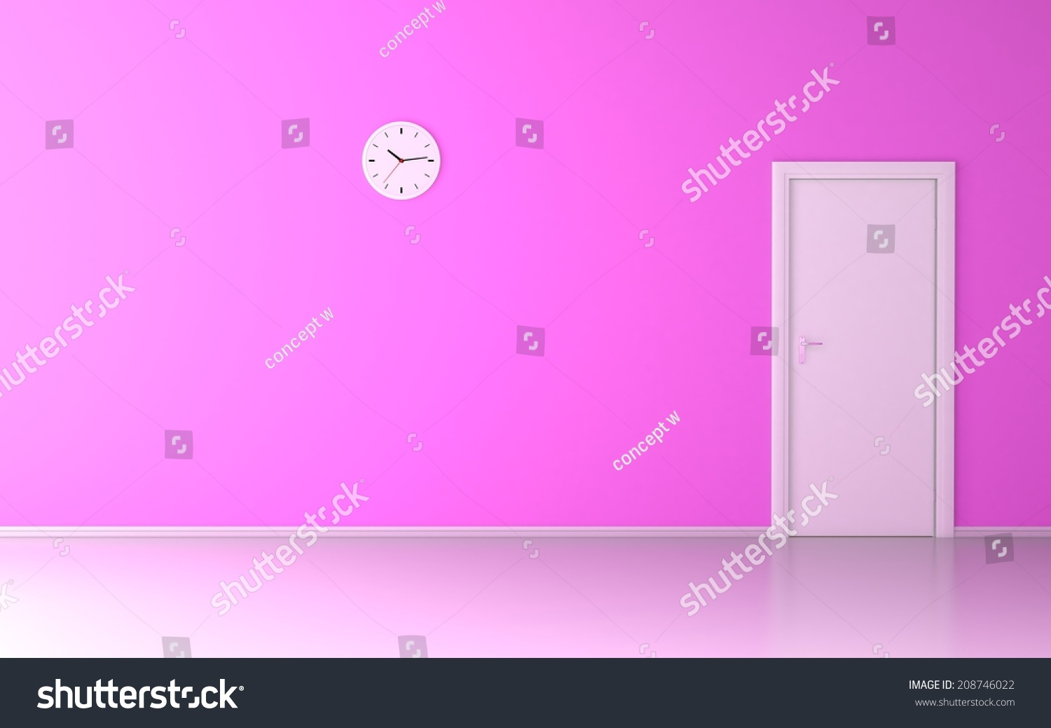 Wall clock empty room pink wall stock illustration 208746022 wall clock in empty room with pink wall and white door amipublicfo Image collections