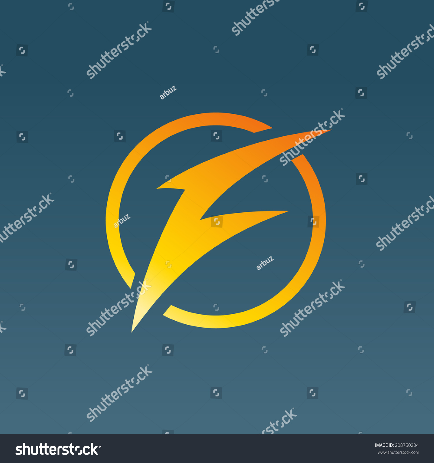 letter f lightning logo icon design stock vector 208750204