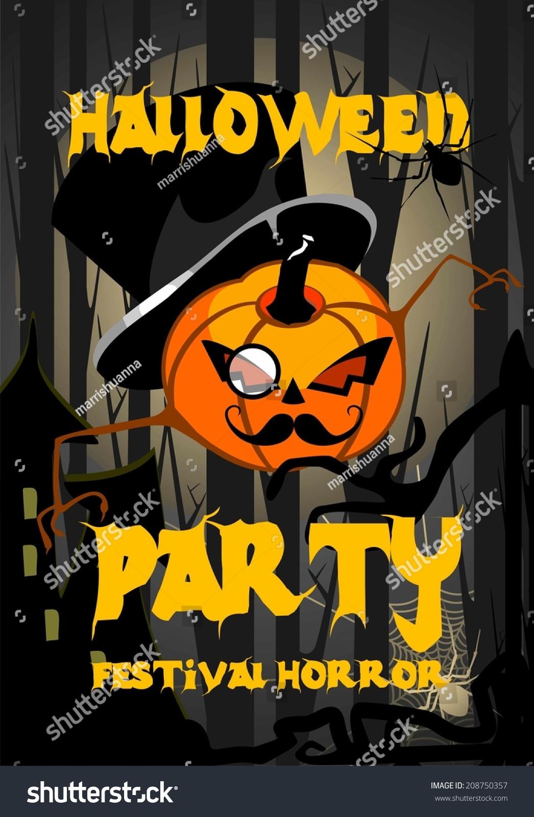 halloween poster spirit halloween pumpkin party stock illustration