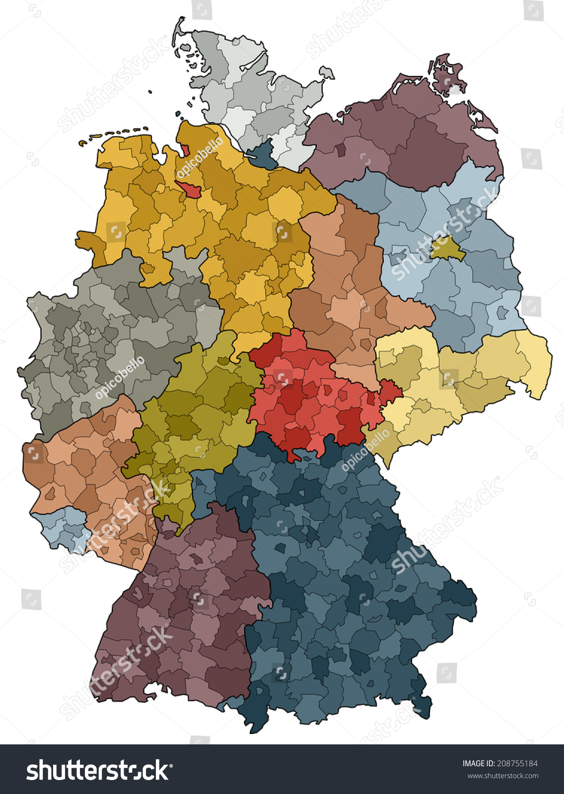 Germany Map Provinces Districts Stock Vector Shutterstock - Germany map provinces