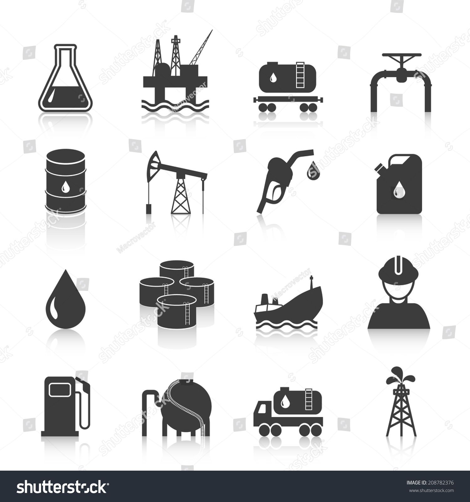 Oil industry gasoline processing symbols icons stock vector oil industry gasoline processing symbols icons set with tanker truck petroleum can and pump isolated vector biocorpaavc