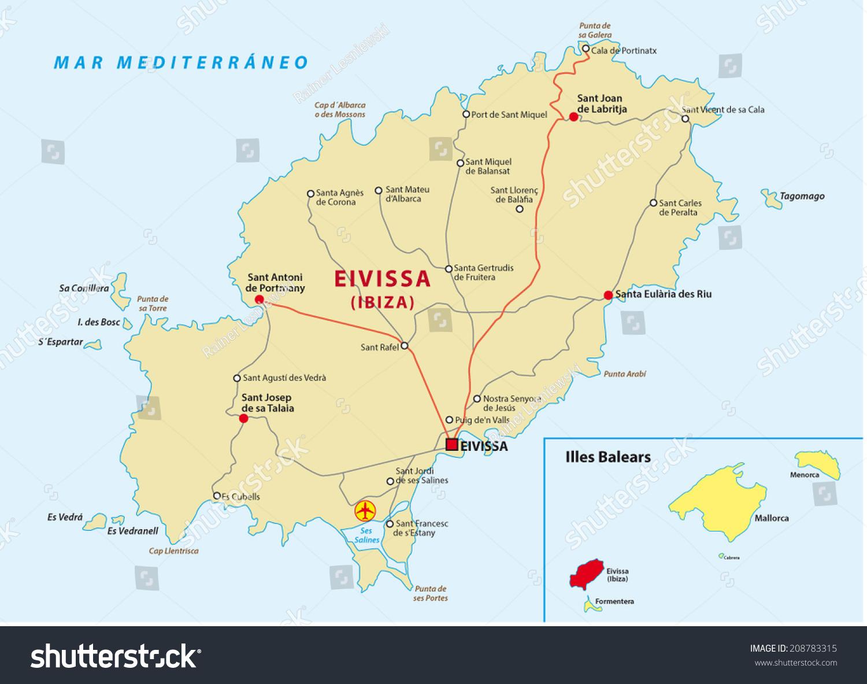 Ibiza Road Map Stock Vector 208783315 Shutterstock